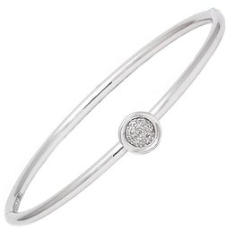 Sterling Steel & Diamond Round Cluster Bangle