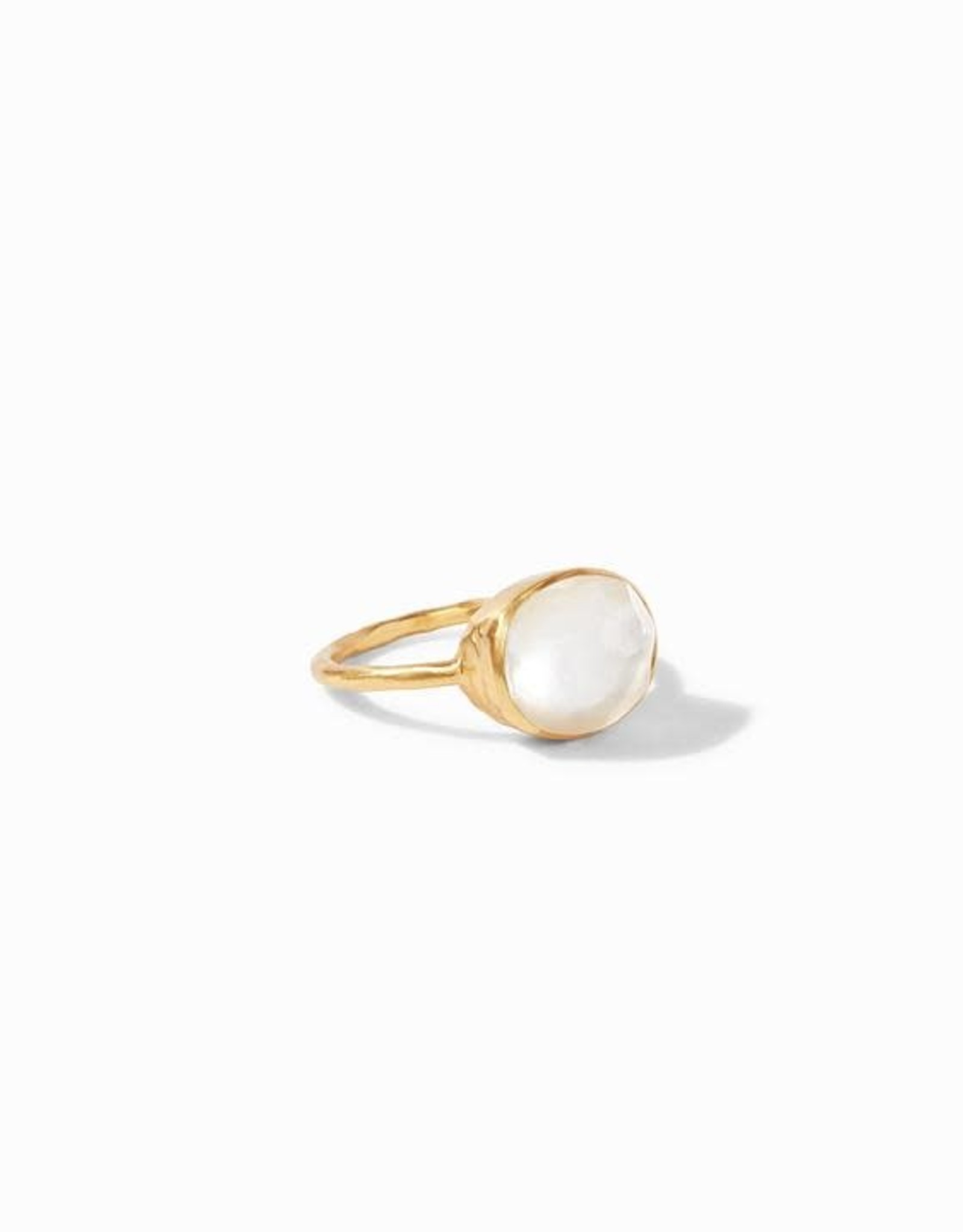 Julie Vos Honey Iridescent Clear Crystal Pearl Stacking Ring Size 7