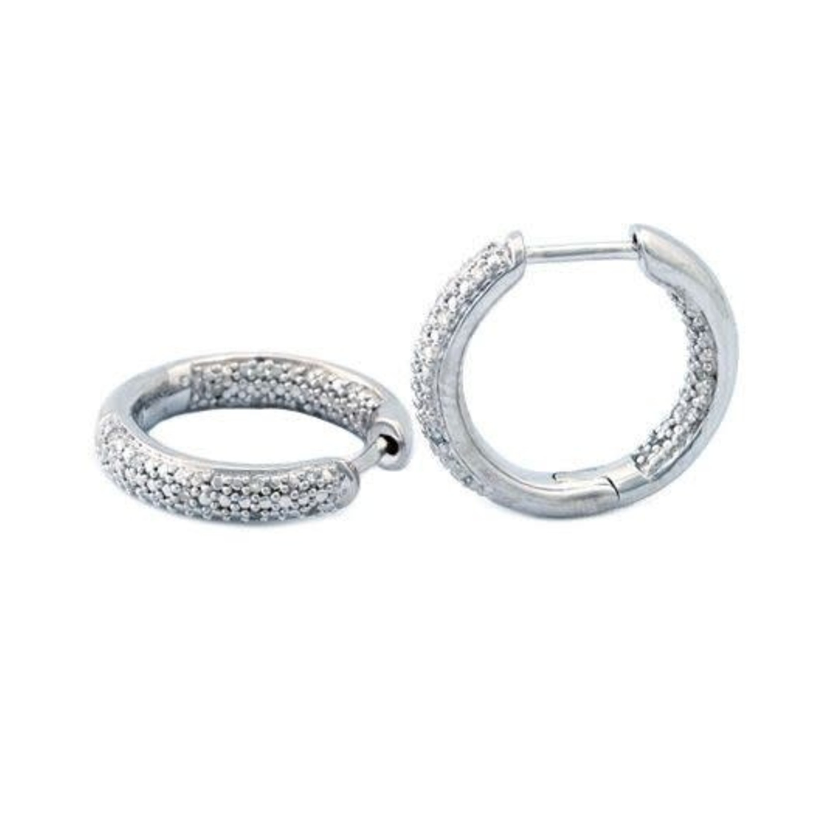 Sterling Silver Pave Inside Outside Diamond 0.11ctw  Hoops