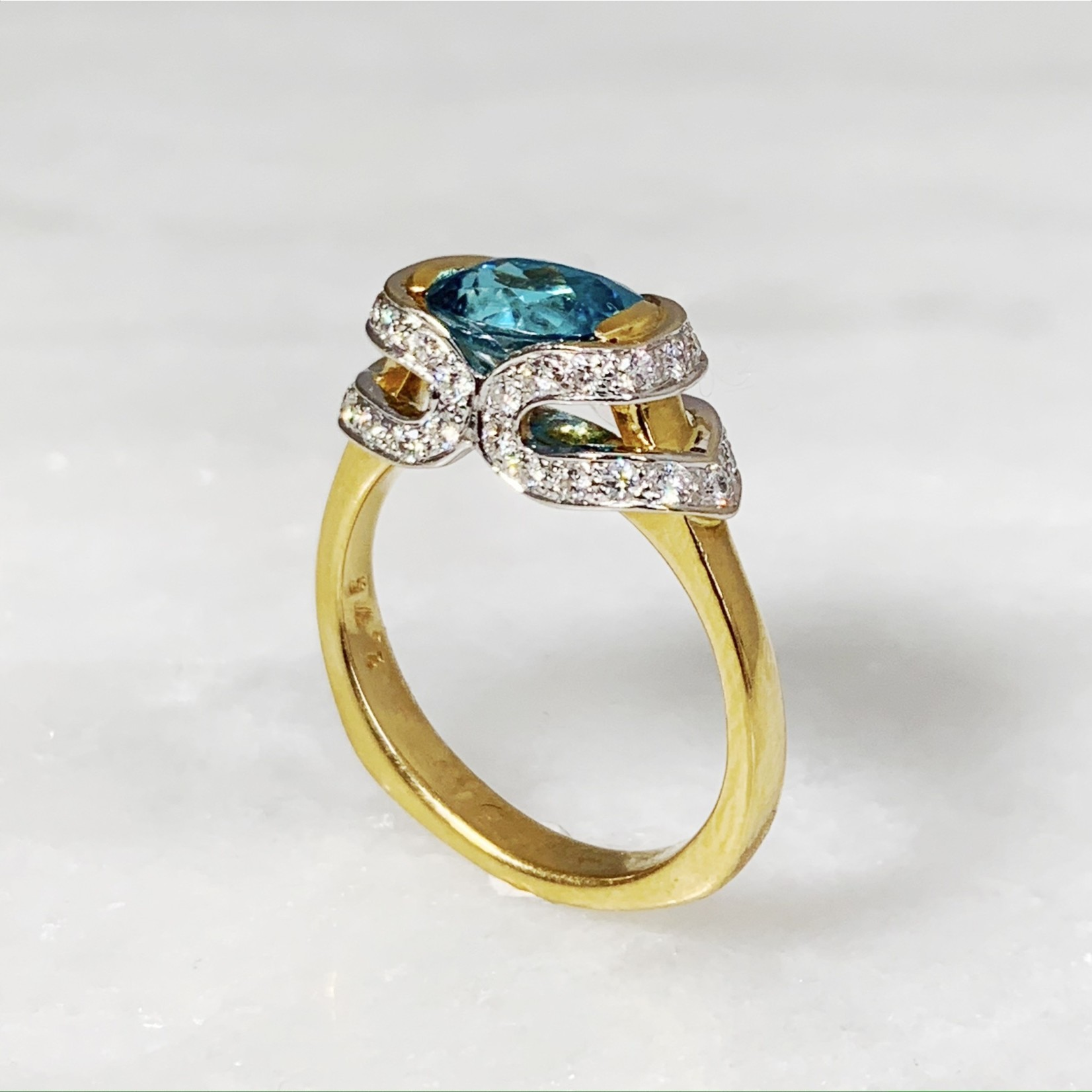 18K Yellow & White Blue Zircon Diamond 0.50ctw Ring