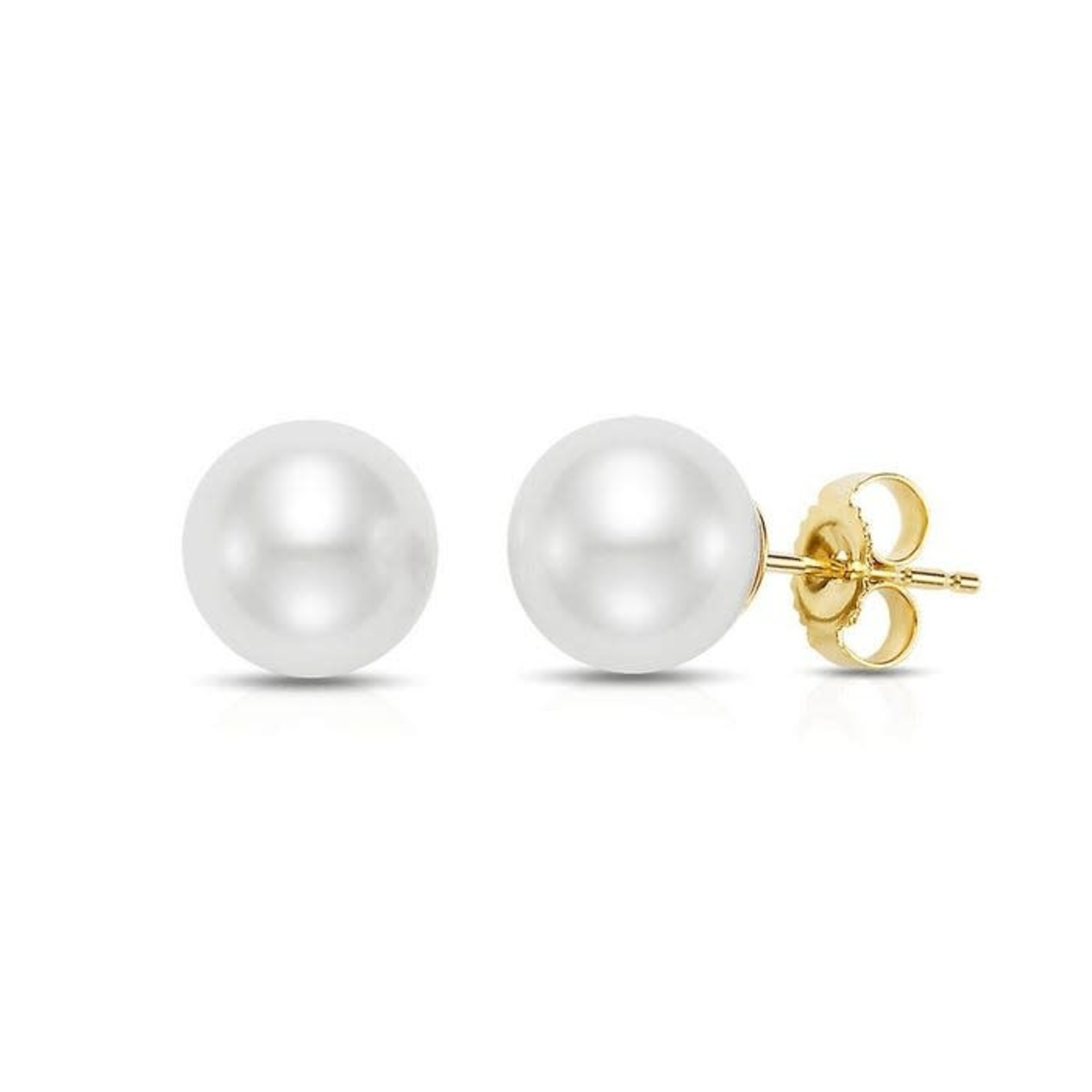 14KY Gold Akoya Cultured 6.5mm Pearl Studs
