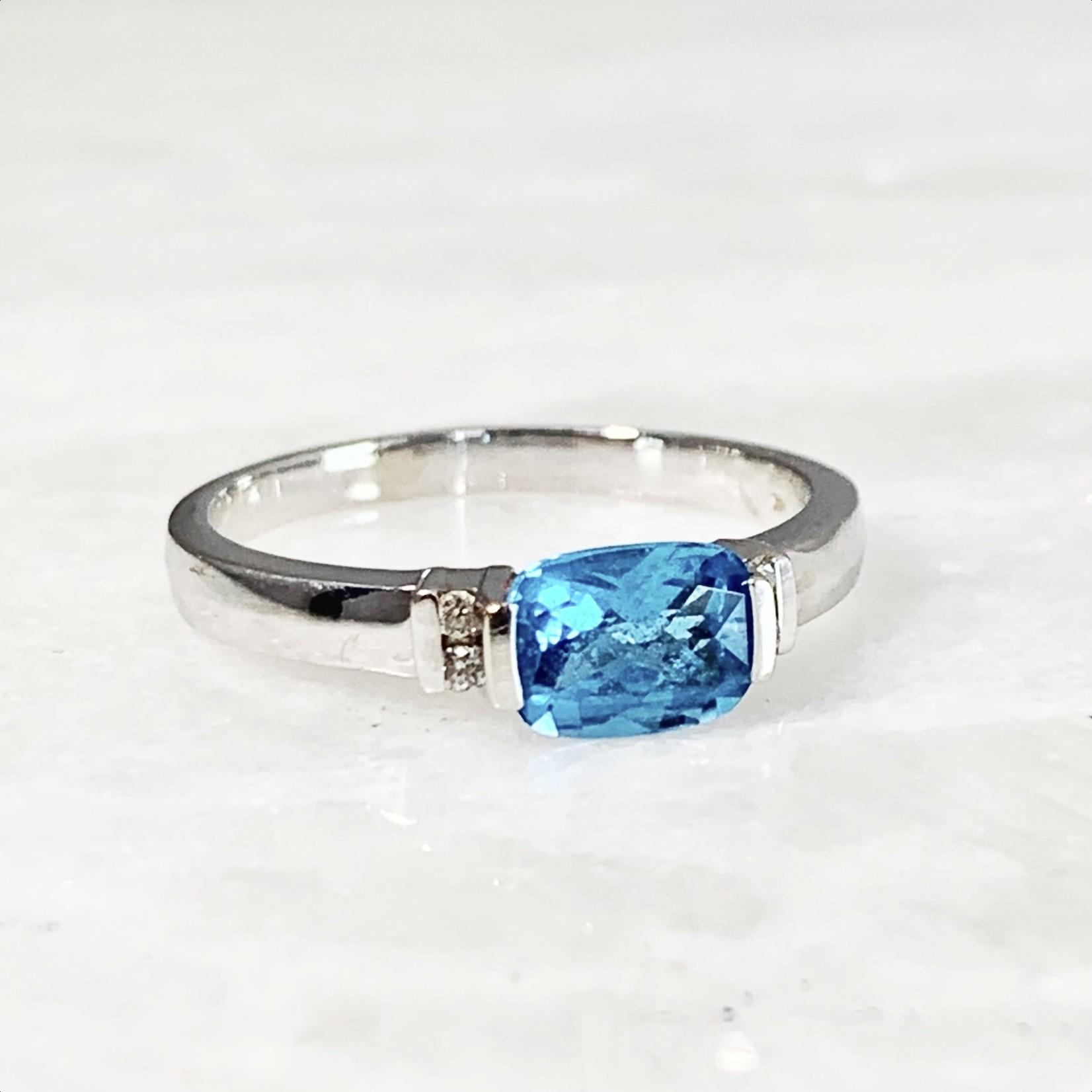 14KW Gold Cushion Cut Blue Topaz & Dia Ring