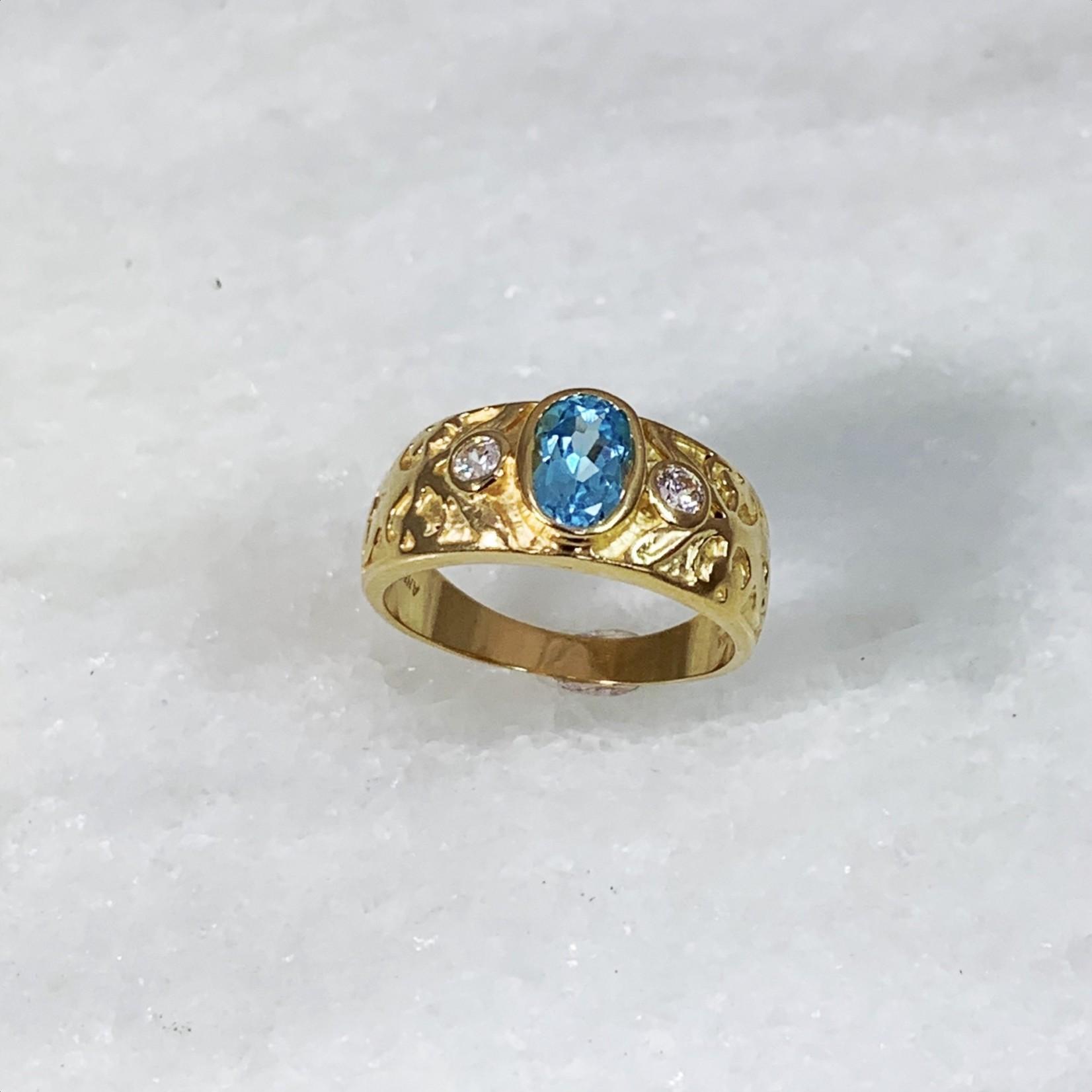 14KY Gold Blue Topaz Diamond Bezel Band