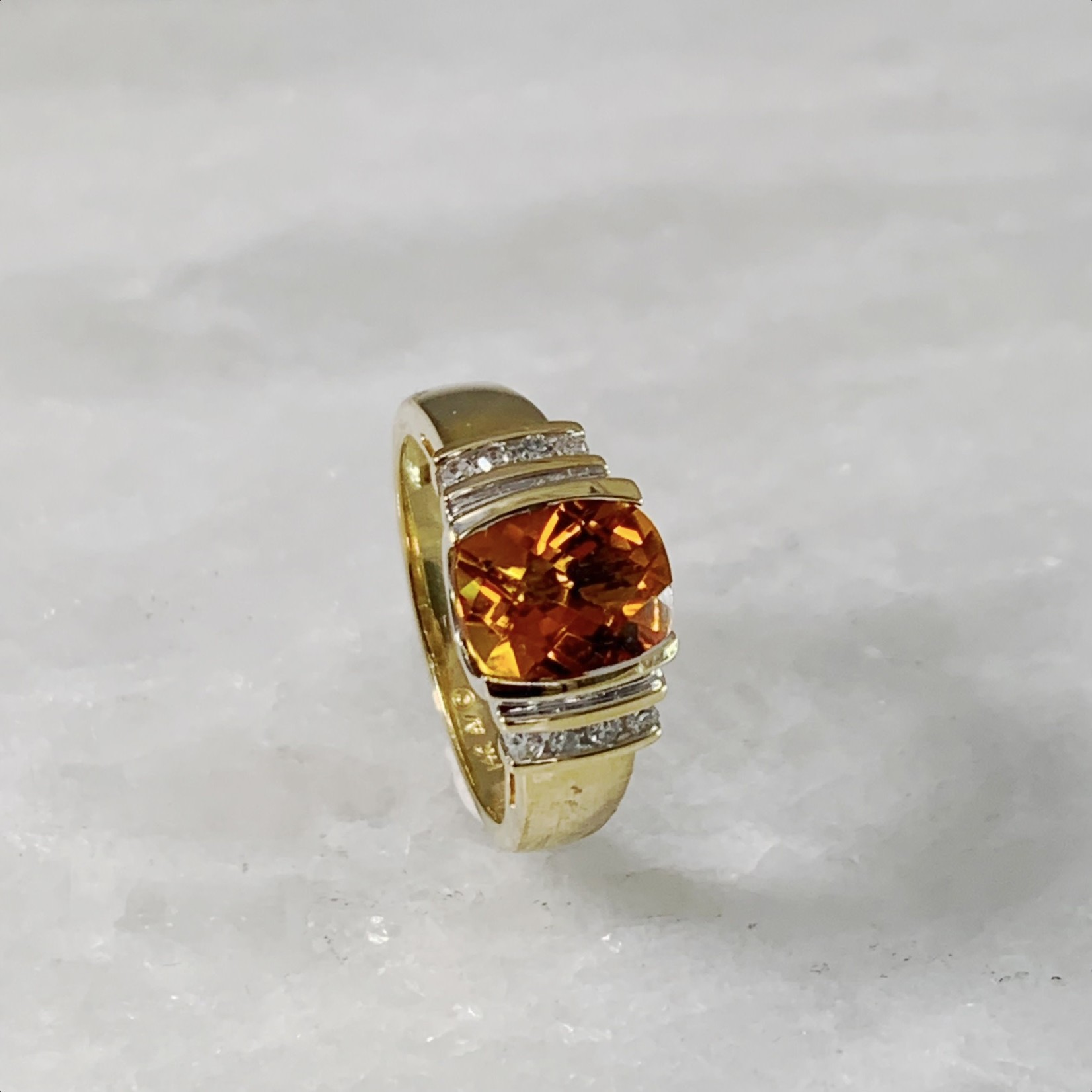 14KY Citrine Cushion Diamond Ring