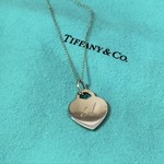 """Tiffany & Co. Sterling Silver Heart Pendant Engraved A 18"""""""