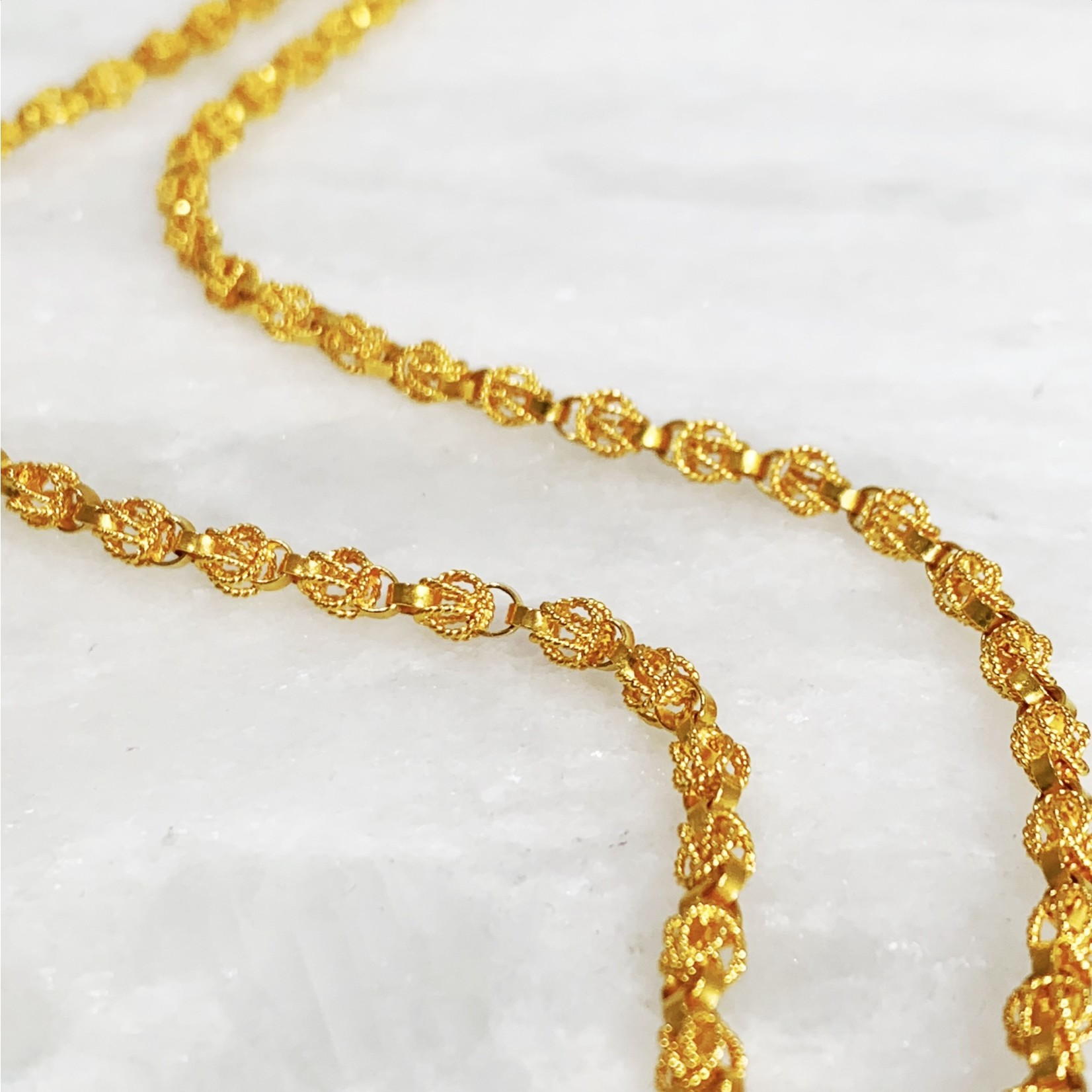 """22KY Gold Handmade Round Scrolled Link Chain 21.75"""""""