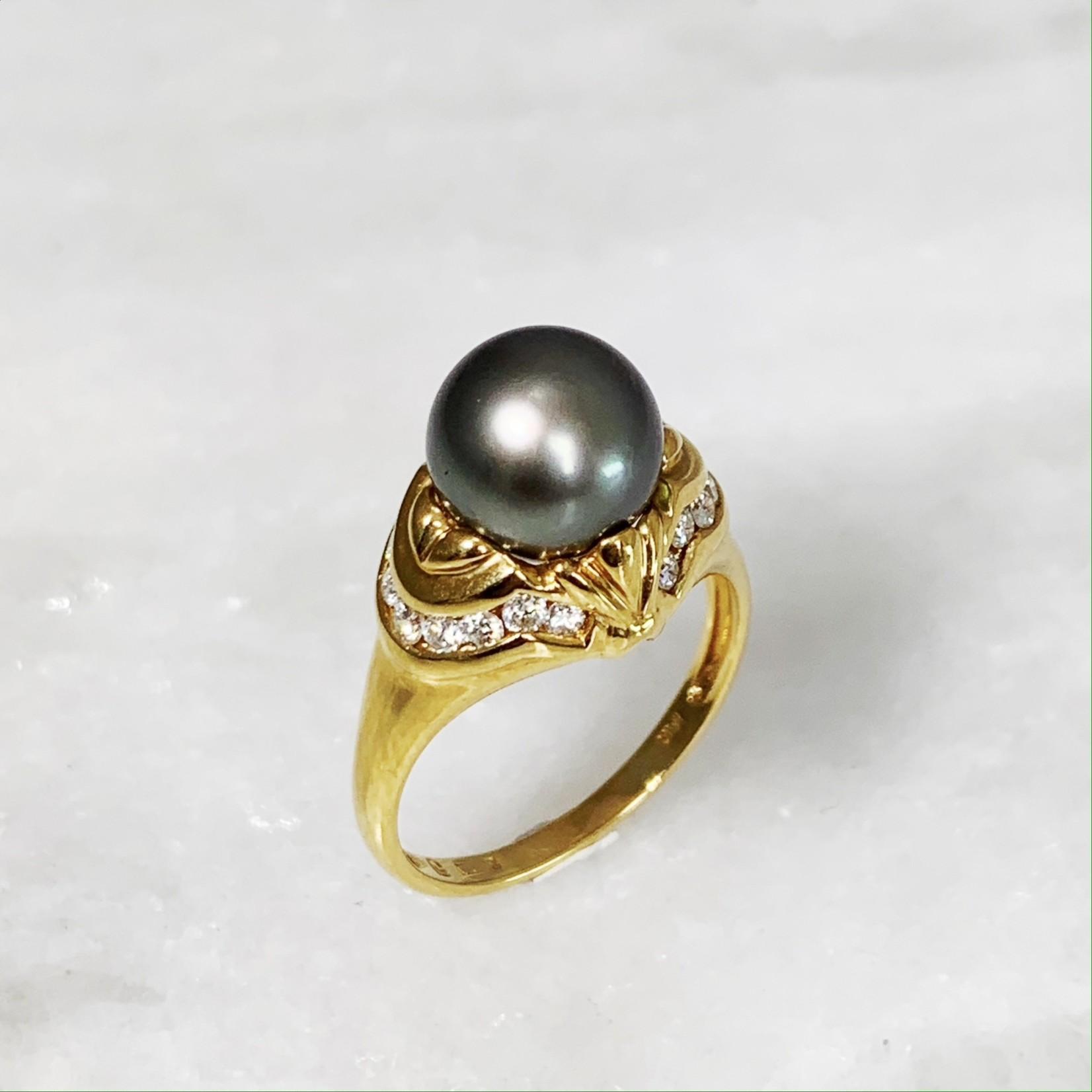 18KY Gold 10mm Tahitian Pearl & Diamond 0.27ctw Ring