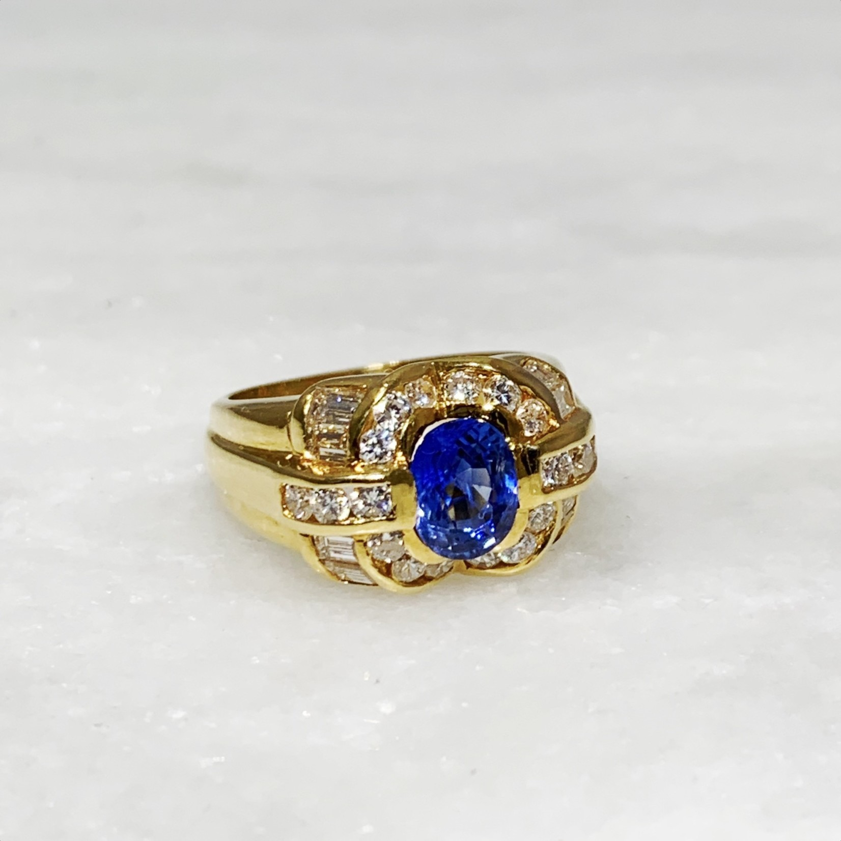 18KY Gold Sapphire 1.33ct & Diamond 1.40ctw Wide Band