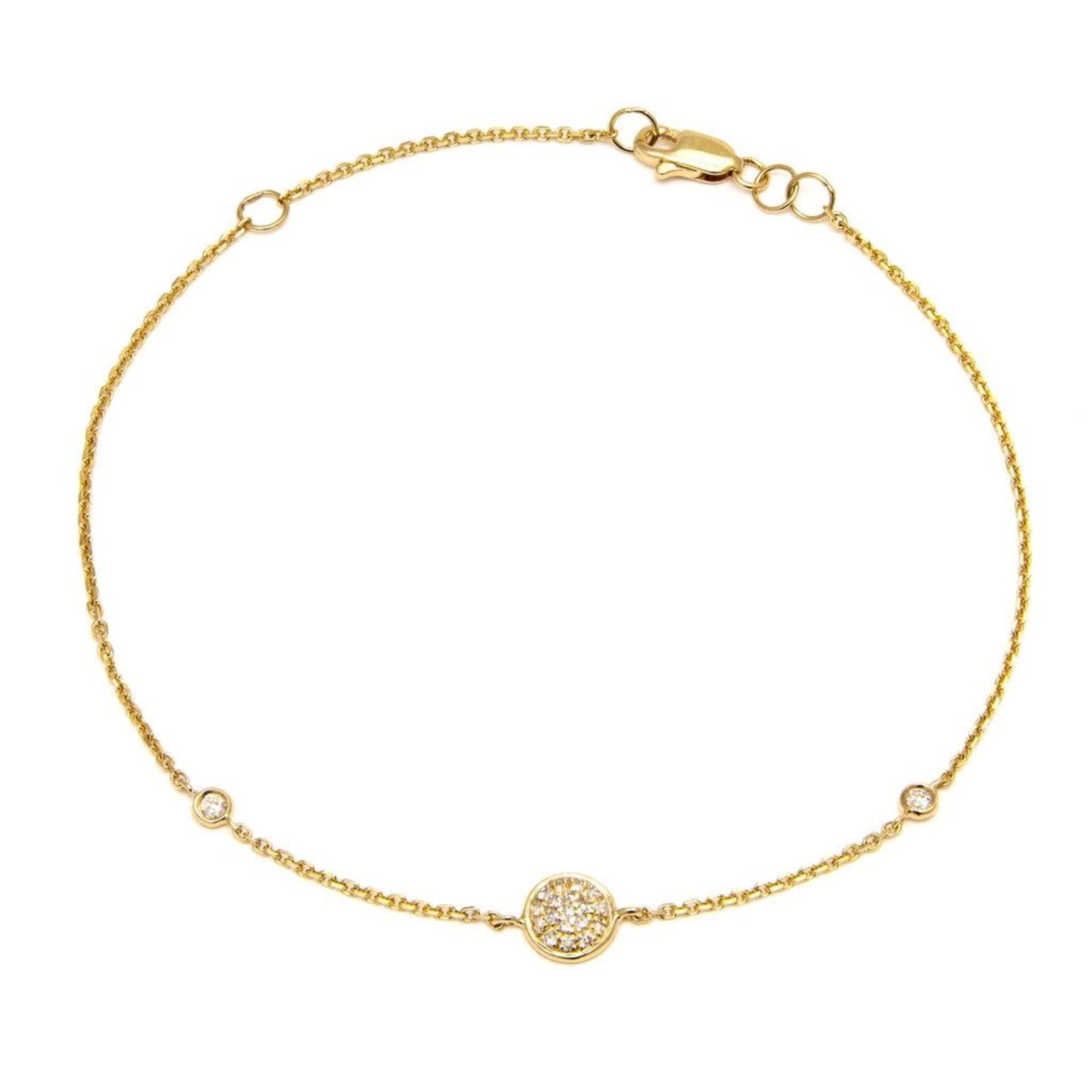 """14KY Gold Diamond 0.09ctw Pave Disc Bracelet 7"""""""