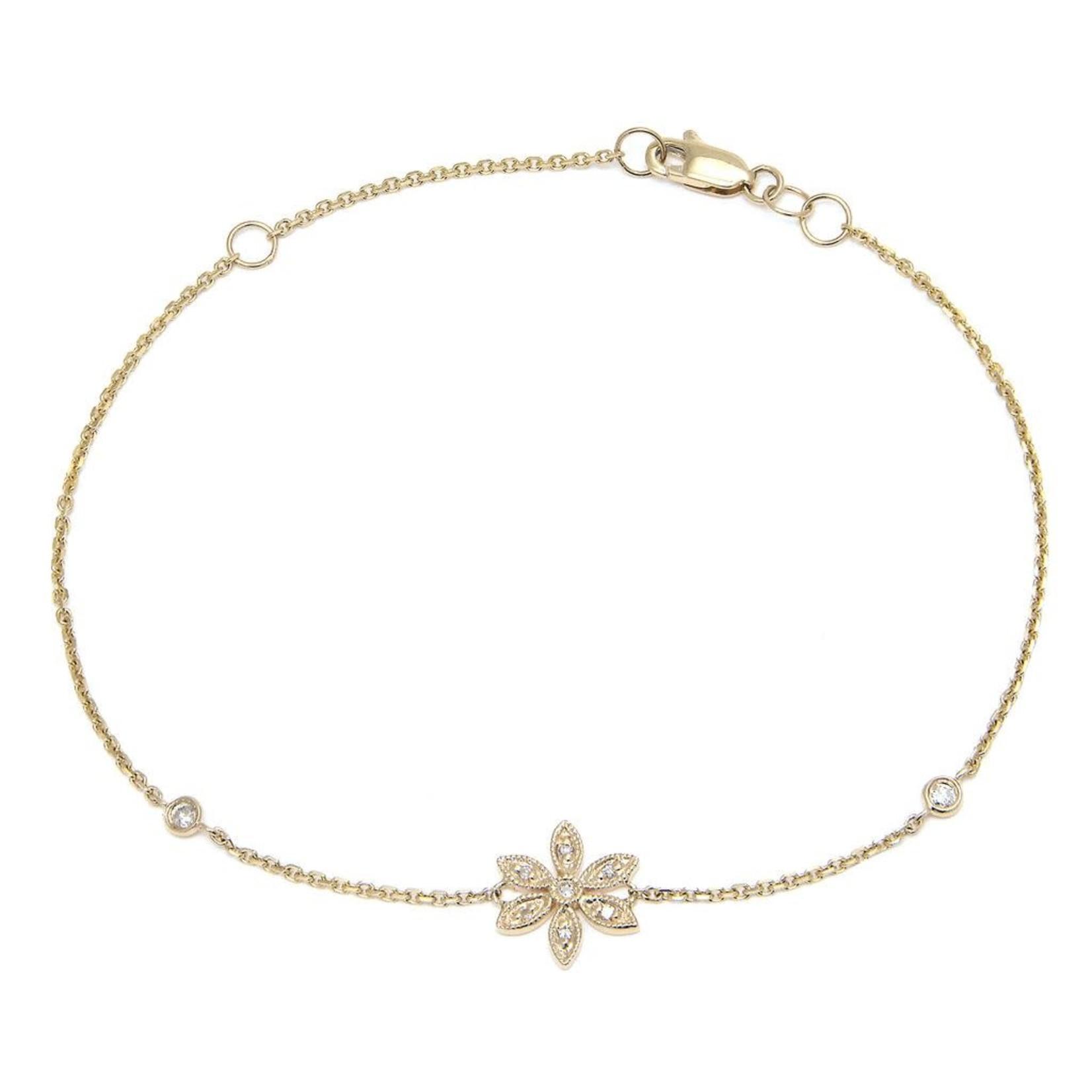 """14KY Gold Diamond 0.06ctw Pave Flower Bracelet 7"""""""