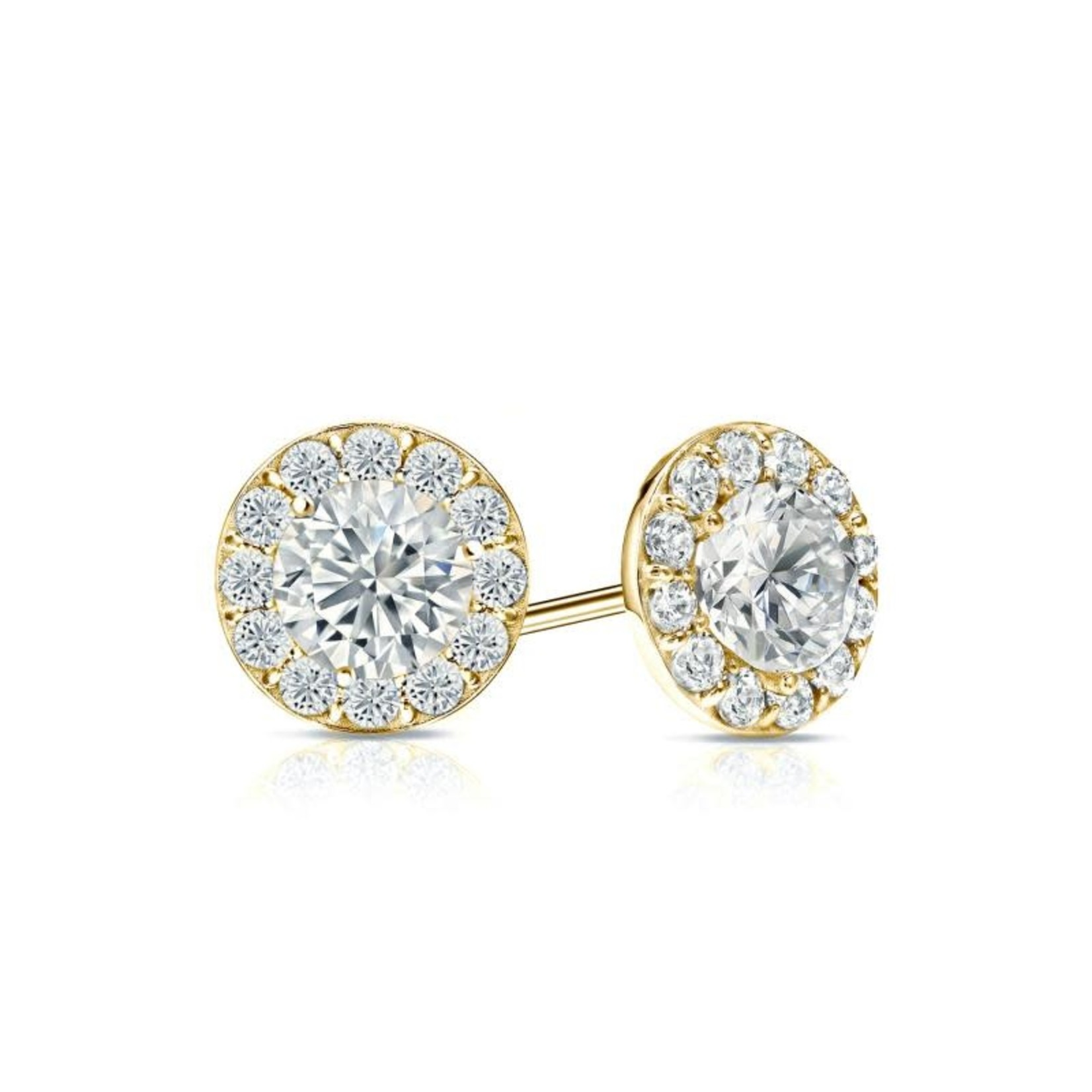 14KY Gold Diamond 1.25ctw Halo Stud Earrings