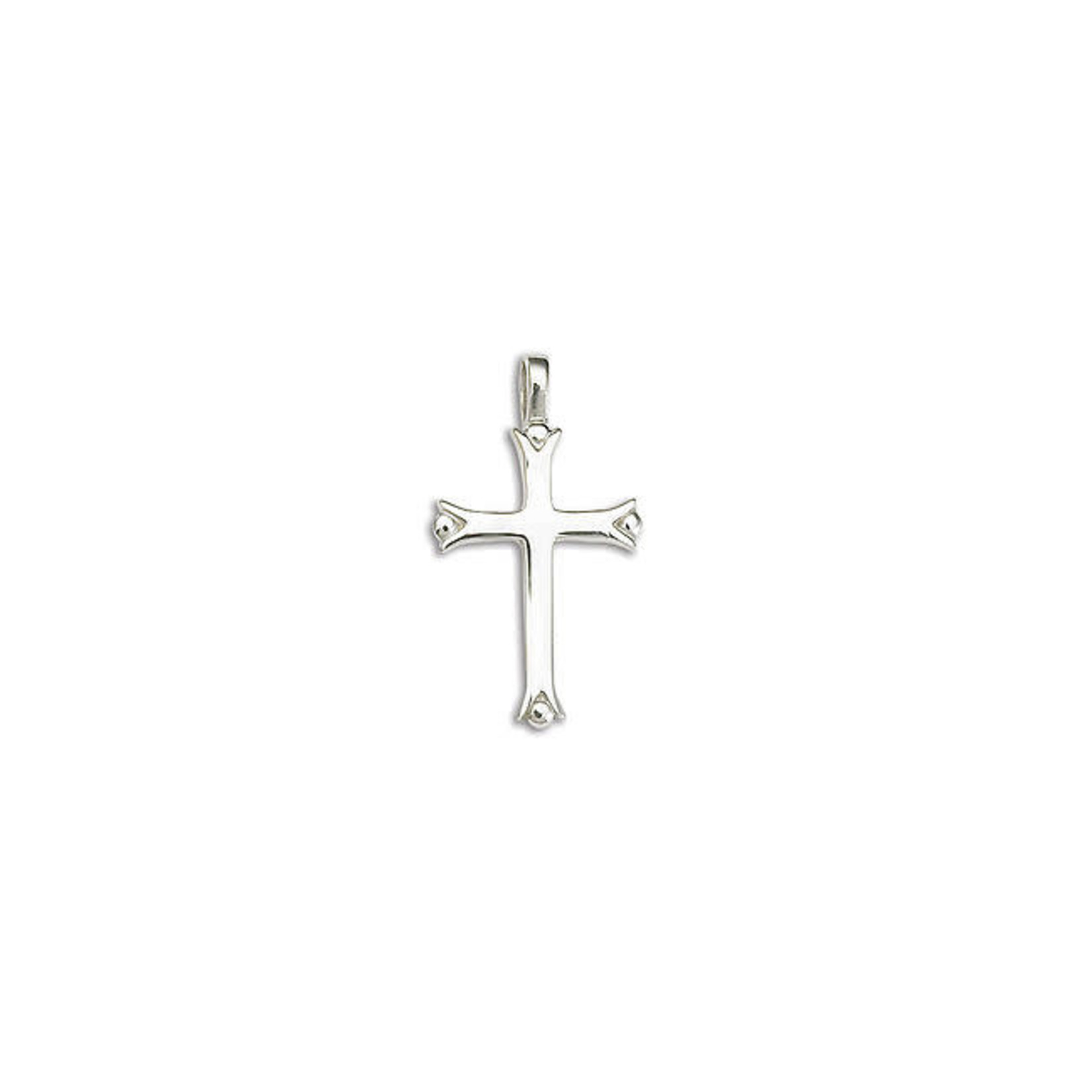 """Sterling Silver Medium Grooved Ball Cross With Curb Chain 18"""""""