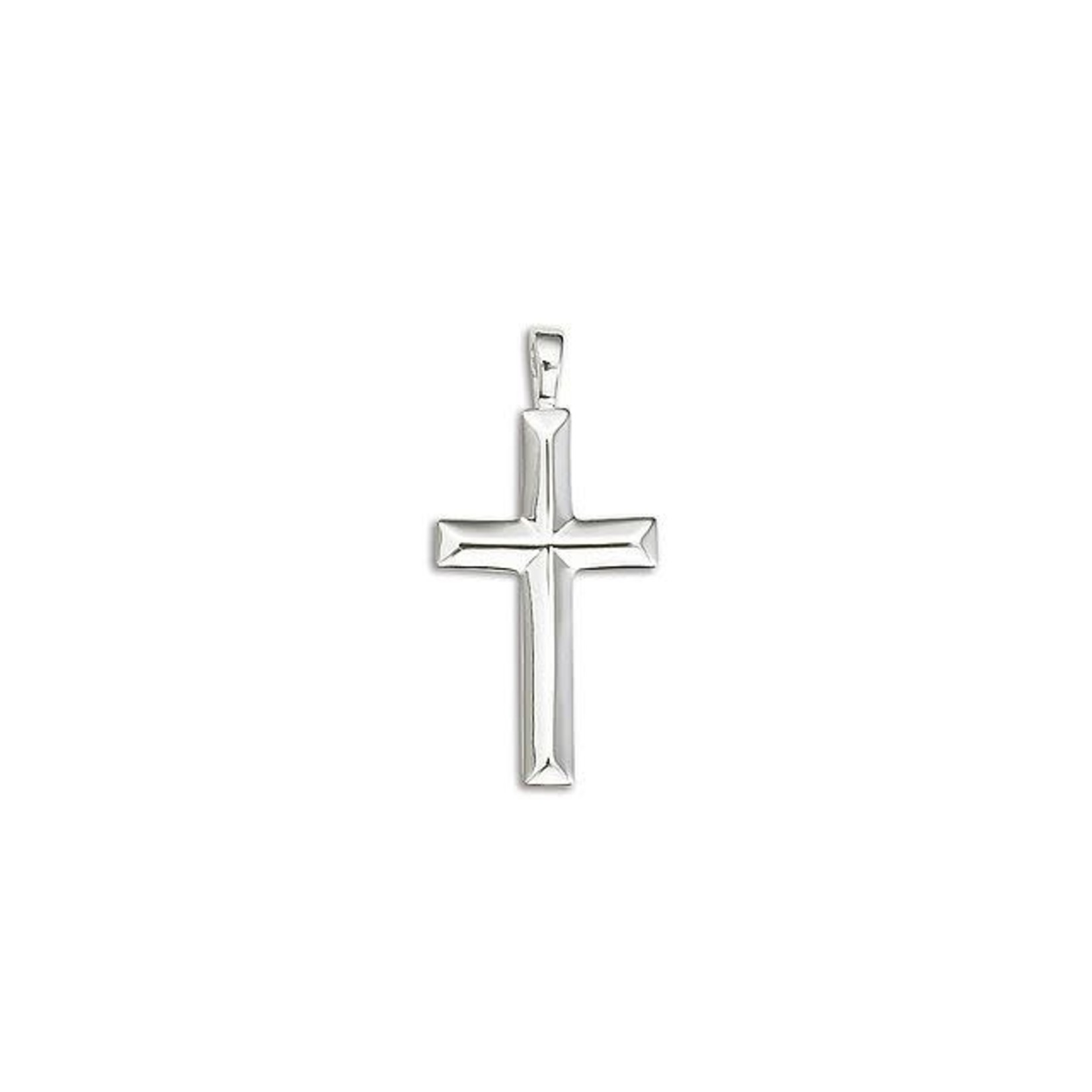 """Sterling Silver Beveled Cross Cable Chain 18"""""""