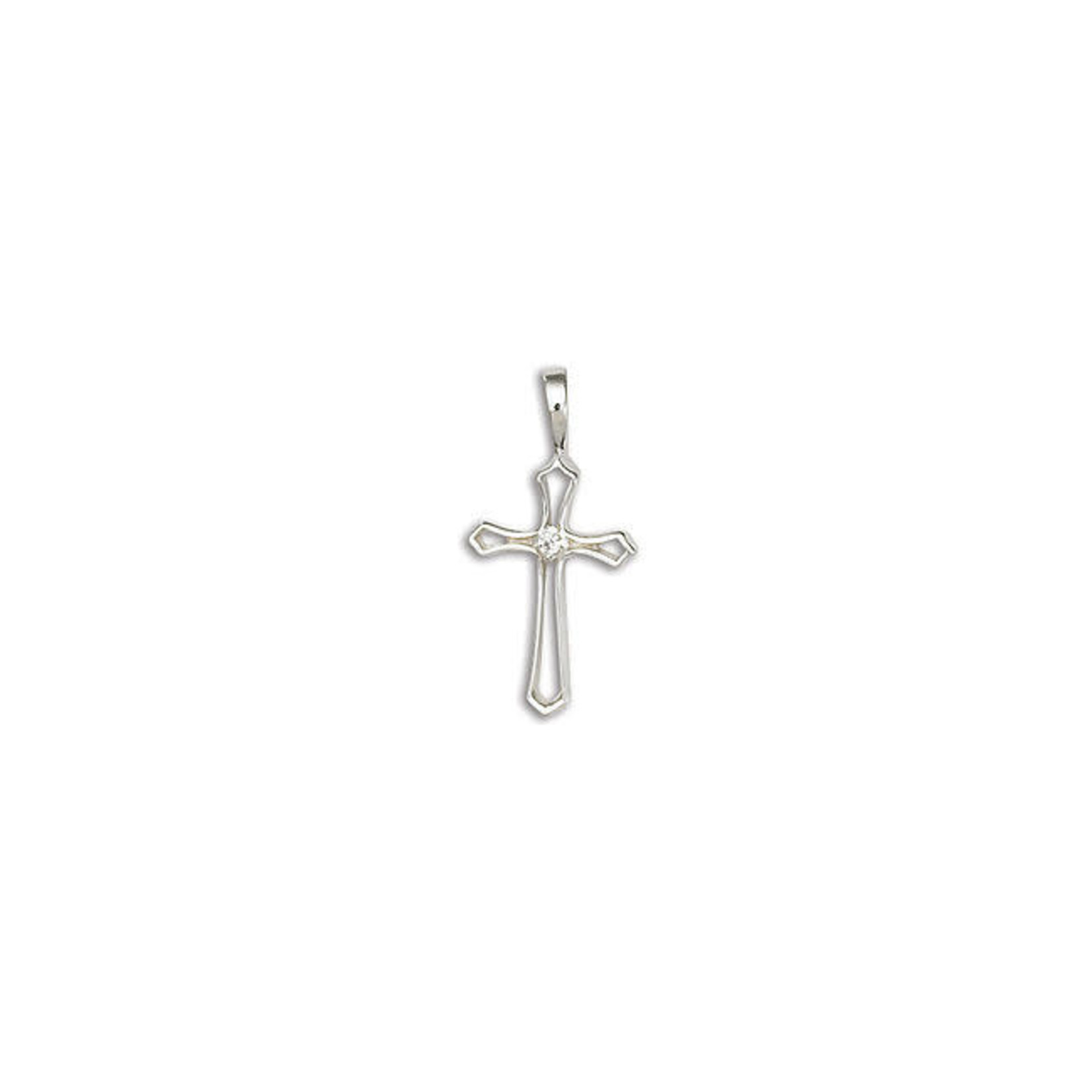 """Sterling Silver Open Flair Cubic Zirconia Cross 16-18"""""""