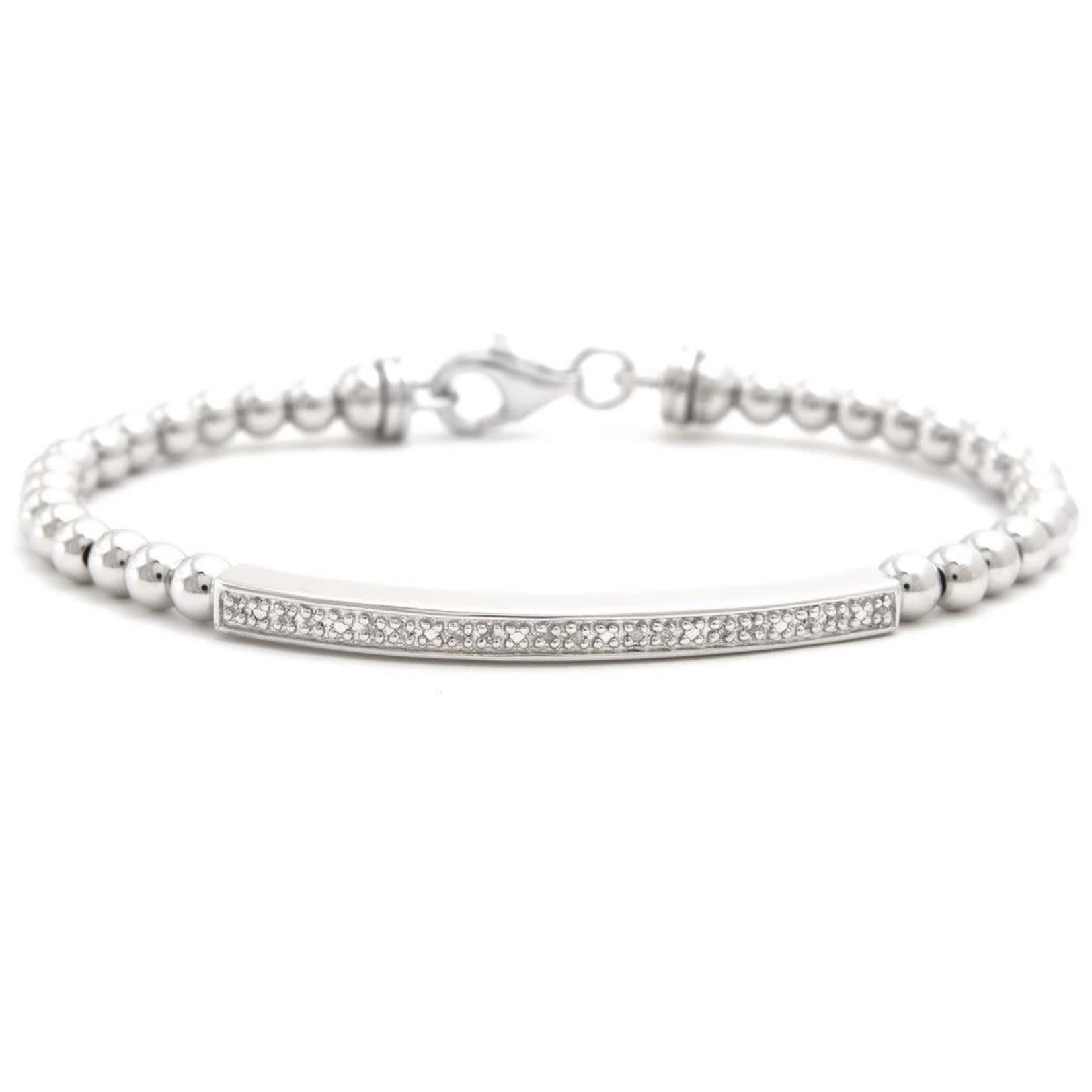 Sterling Steel Diamond 0.05ctw Bar Bead Bracelet