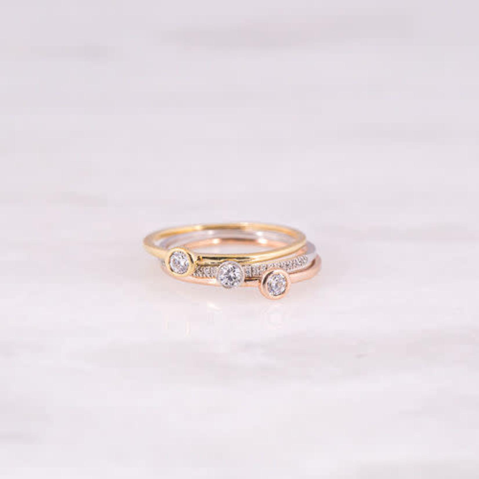 14K Rose Gold Diamond Bezel Ring 0.07CTW