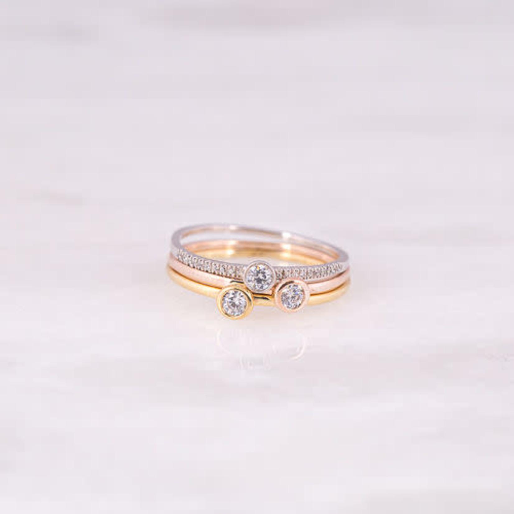 14K Yellow Gold Diamond Bezel Ring 0.07CTW