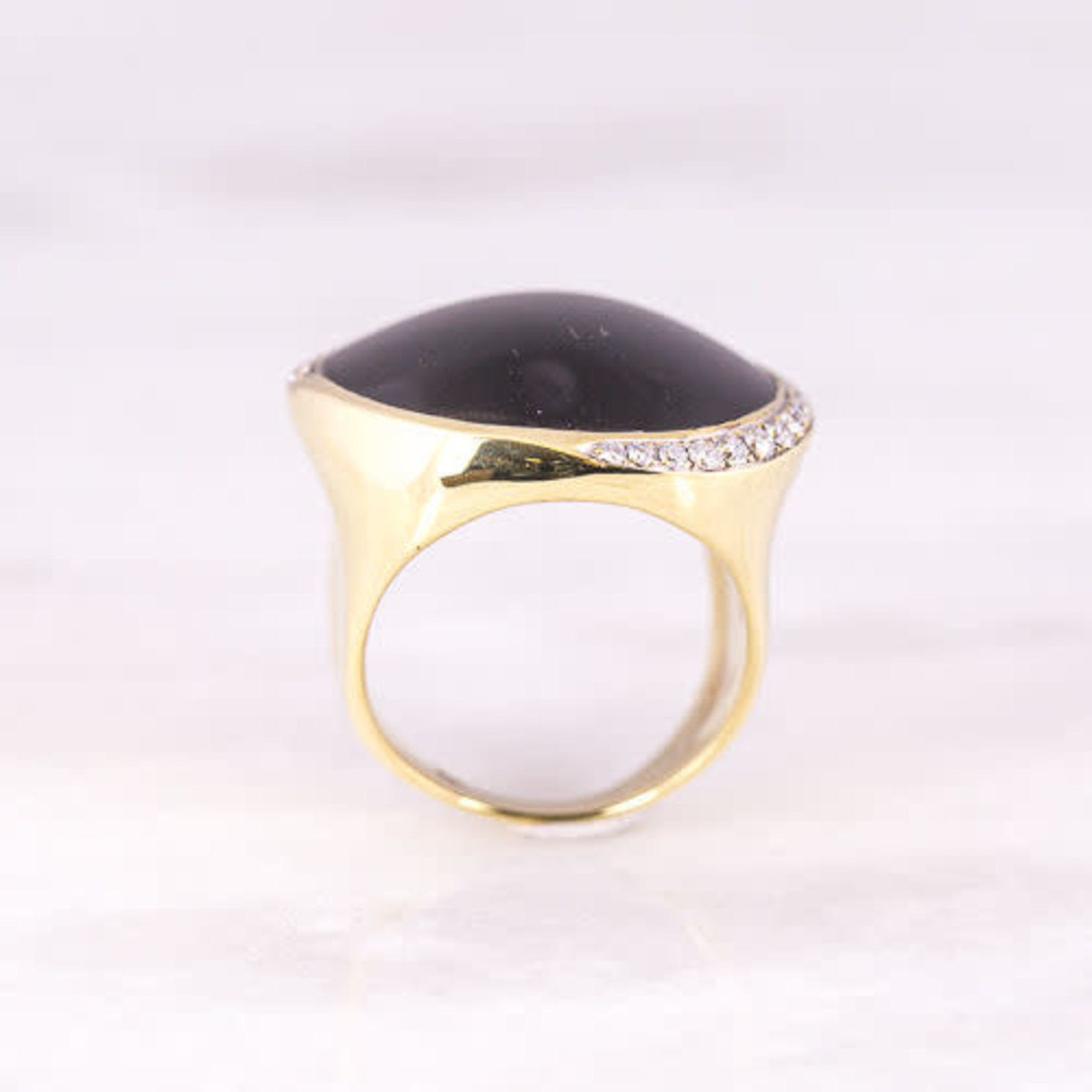18K Yellow Gold Onyx & Diamond Ring 0.42ctw