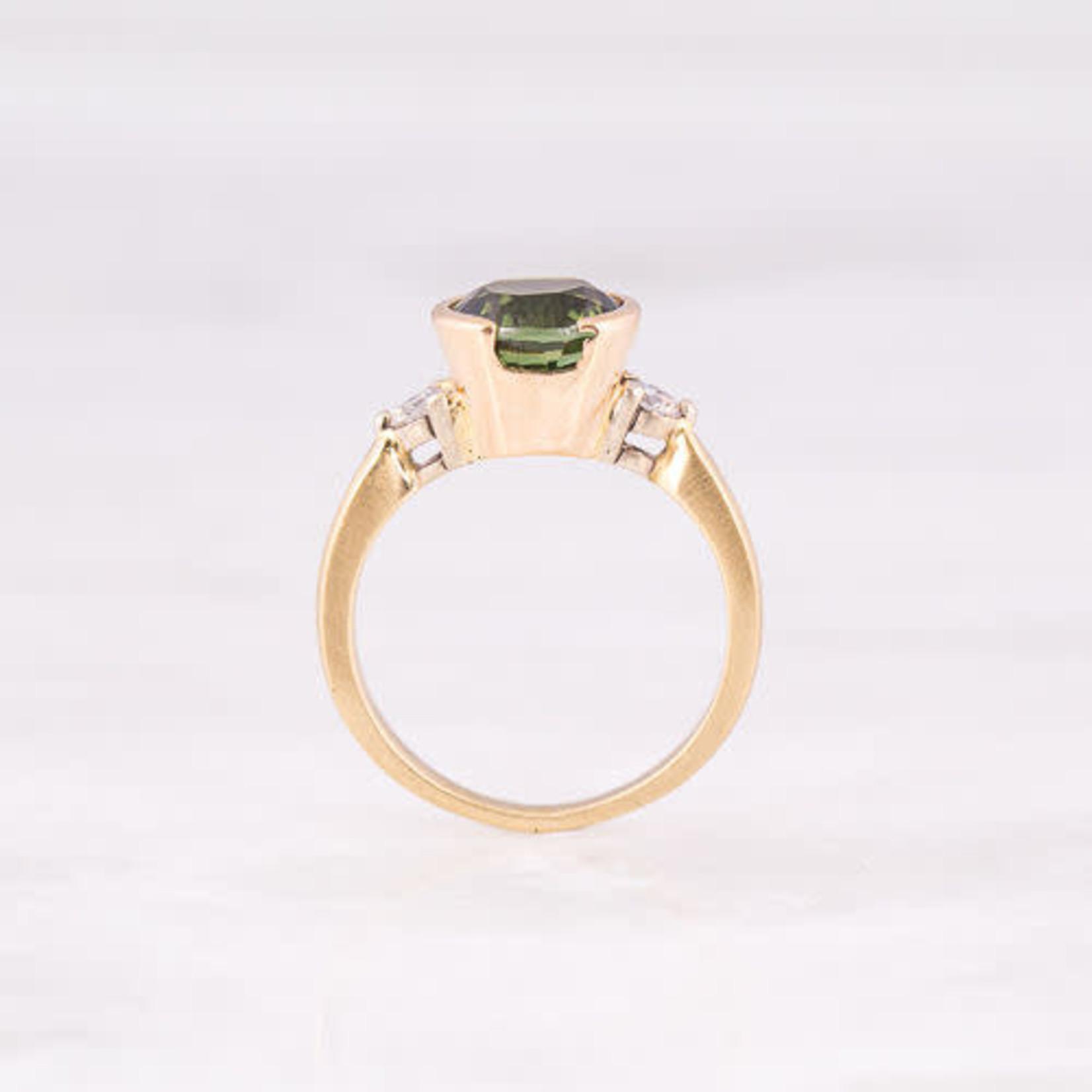 14KY Gold Tourmaline & Diamond 0.30ctw Semi Bezel  Ring