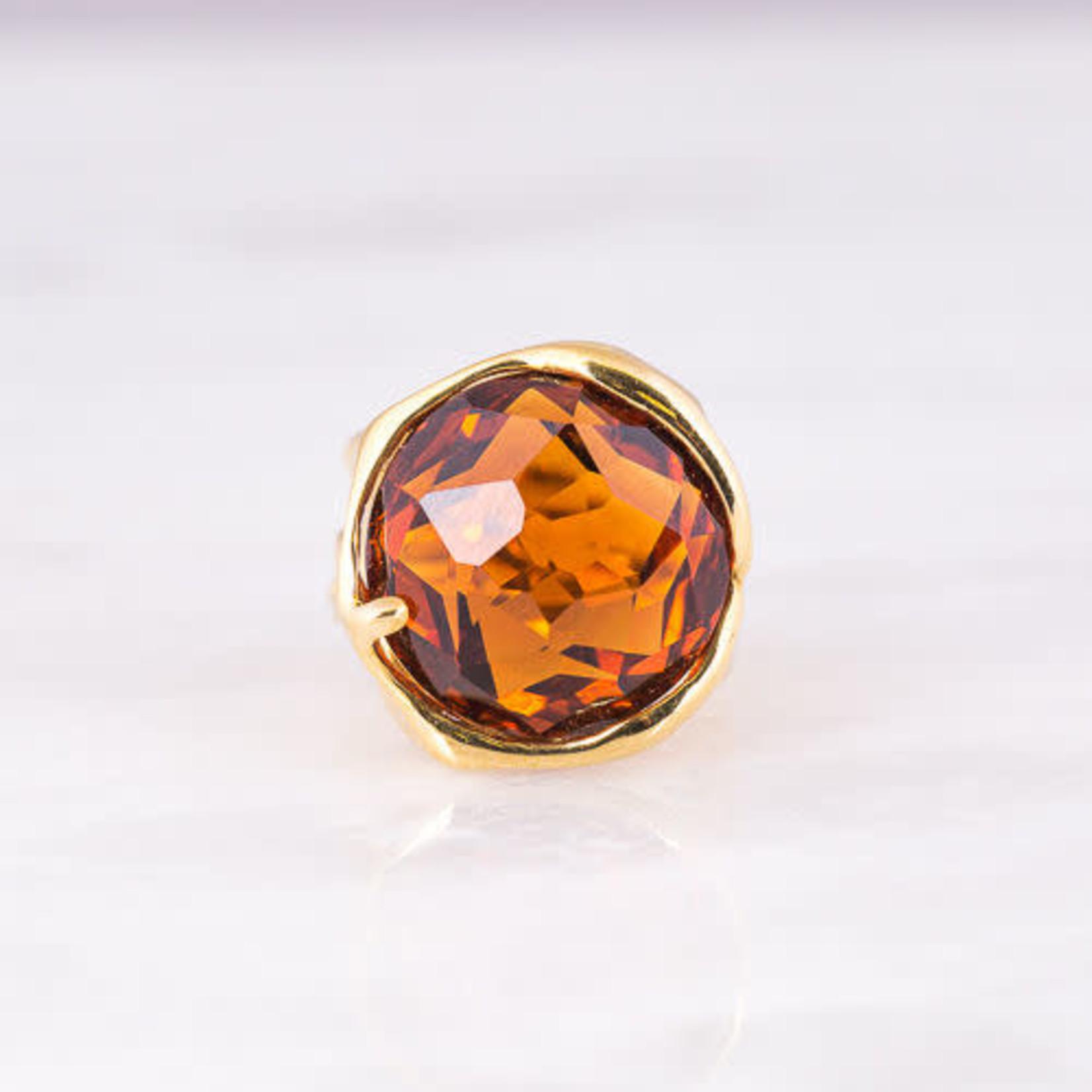 18K Yellow Gold Mandarin Citrine Ring