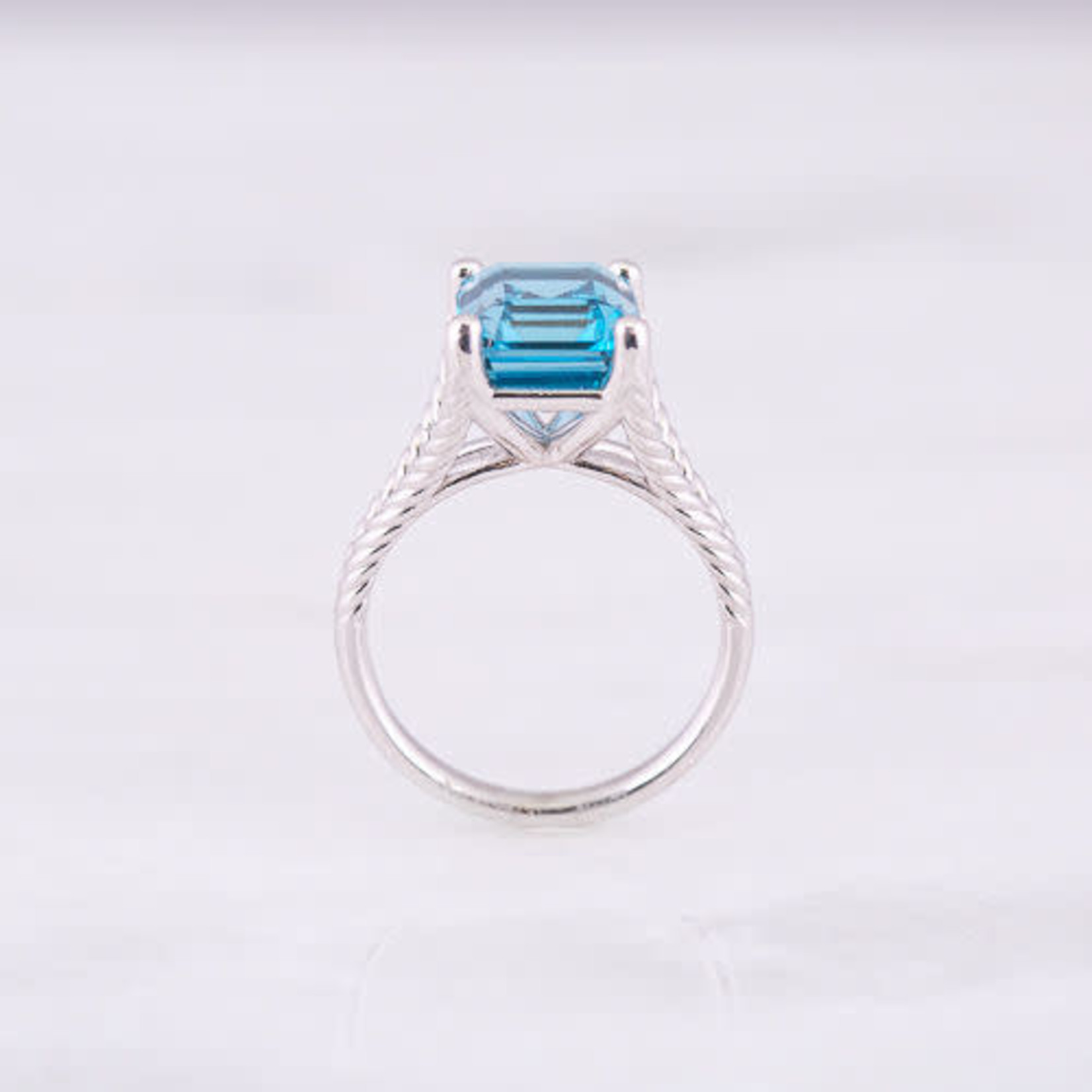 14K White Gold  London Blue Topaz  Cable Ring 10x8