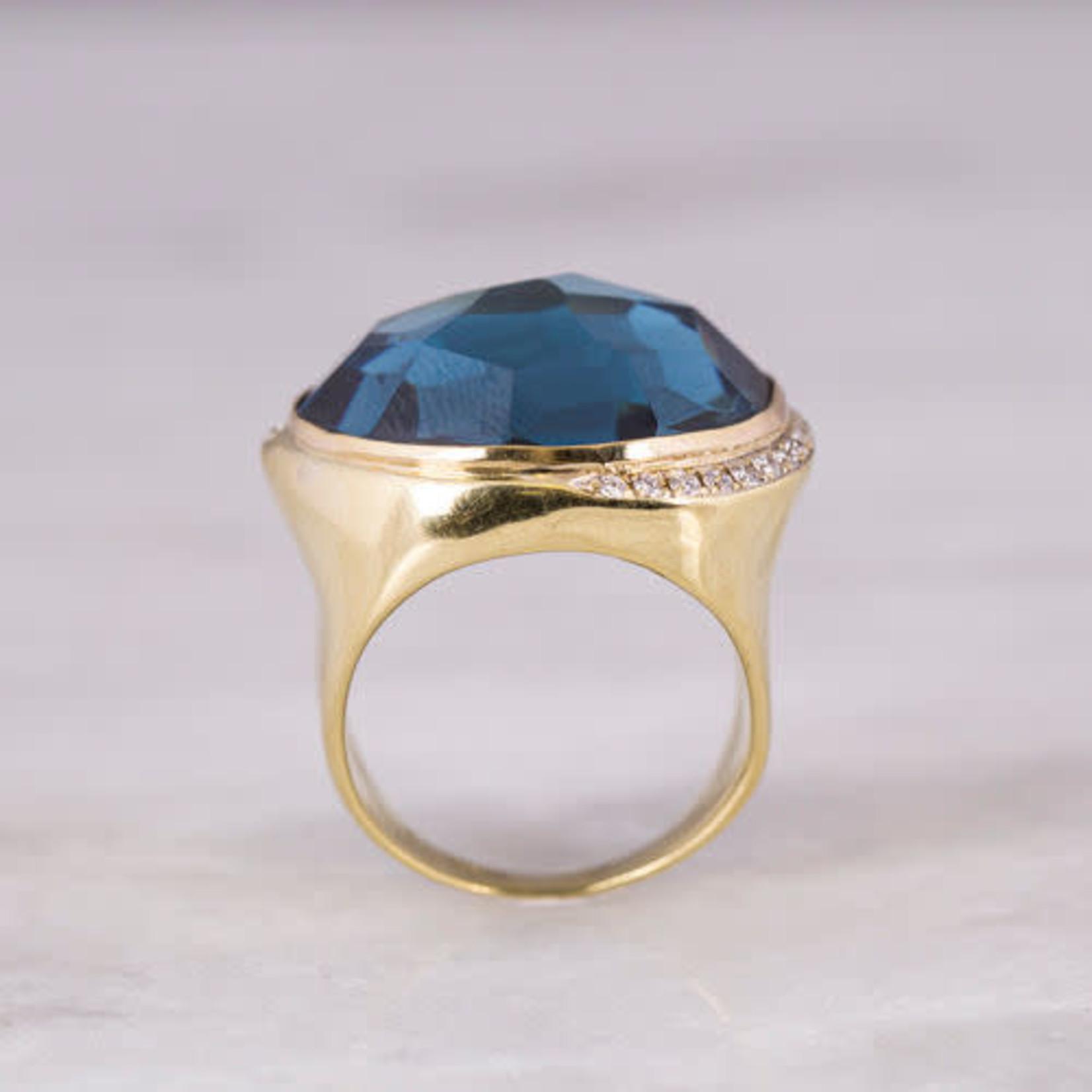 18KY London Blue Topaz & Diamond 0.42 ctw Ring
