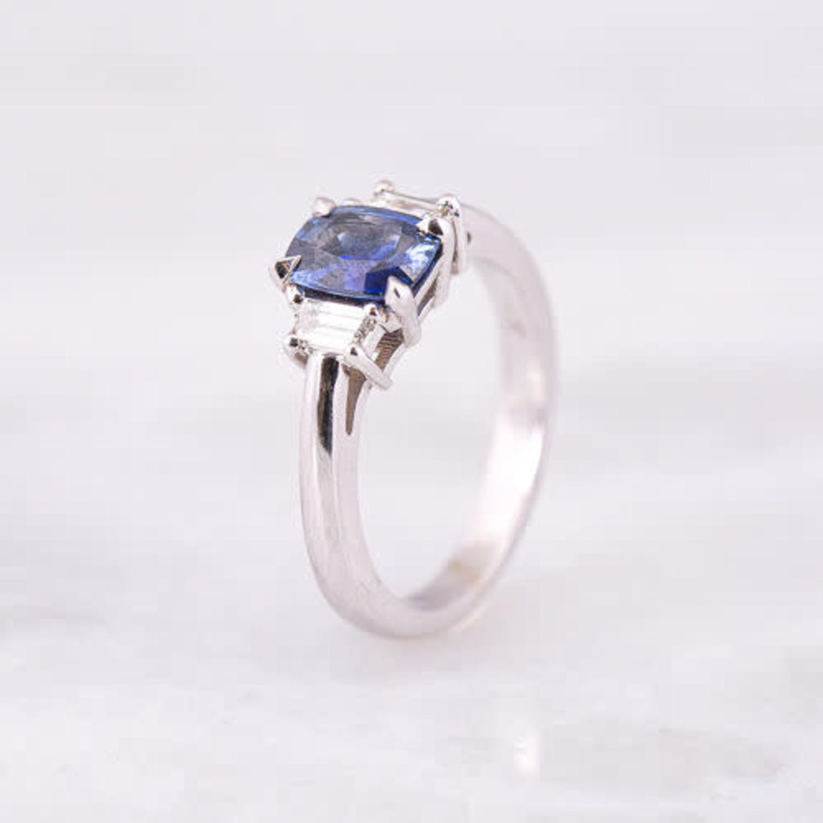 14KW Gold Cushion Sapphire 1.03ctw & Diamond 0.29ctw Ring