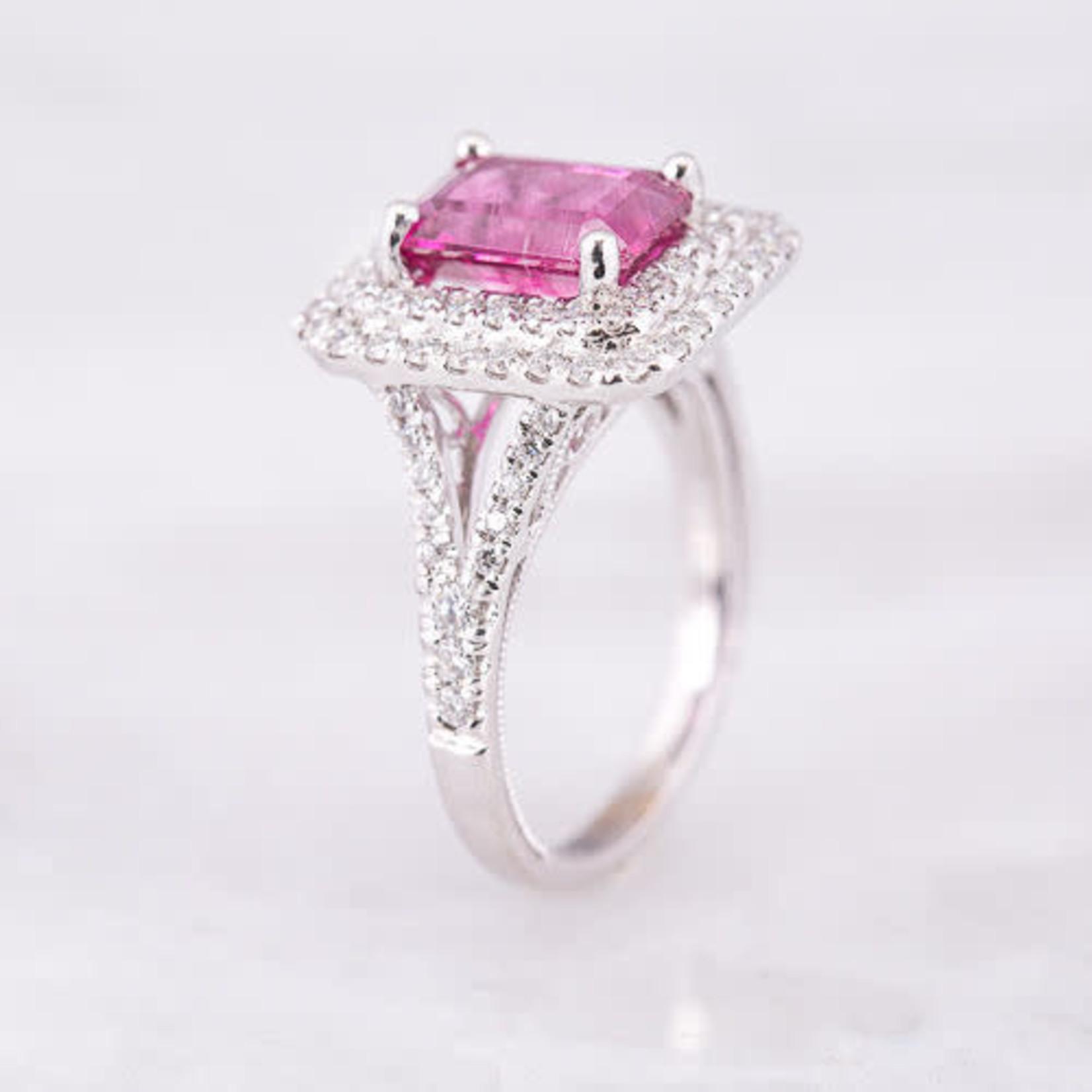 18KW Gold Rectangular Tourmaline 2.62CT Diamond 0.68CTW Ring