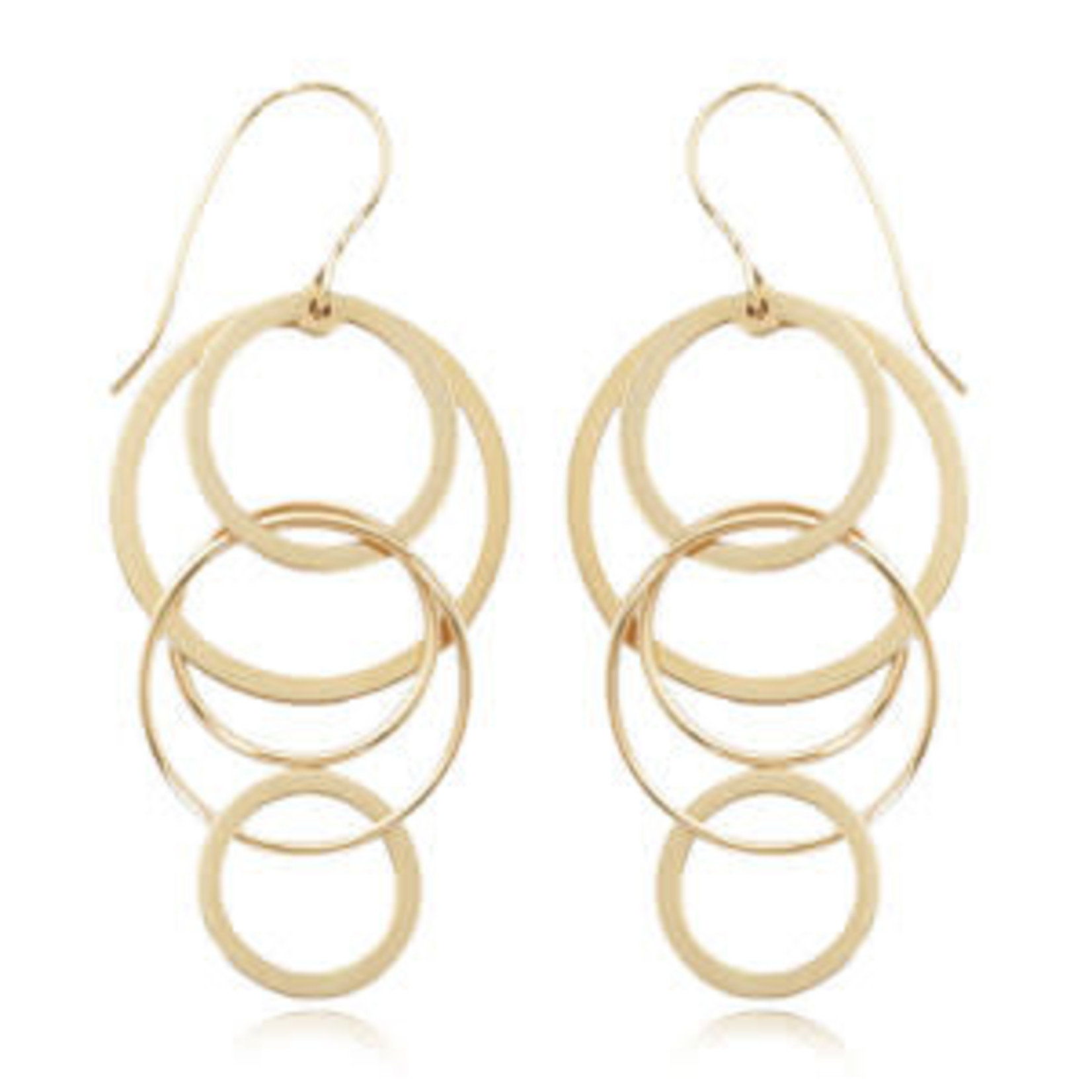 14KY Gold Cascading Circle Drop Earrings