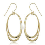 14KY Gold Oval Hammered Long Orbit Drops