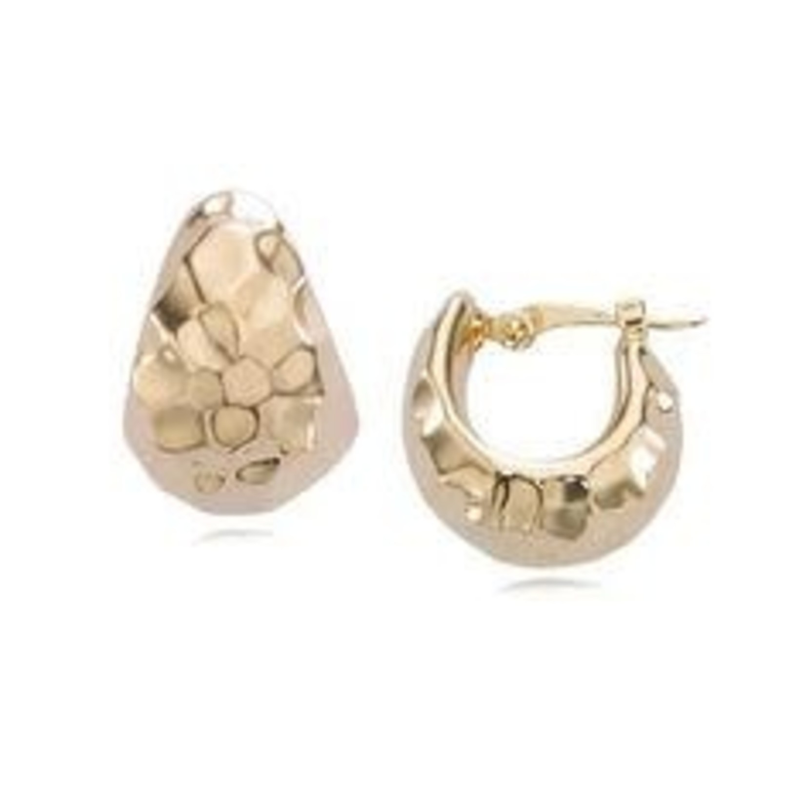 14KY Gold Small Hammered Huggie Hoops