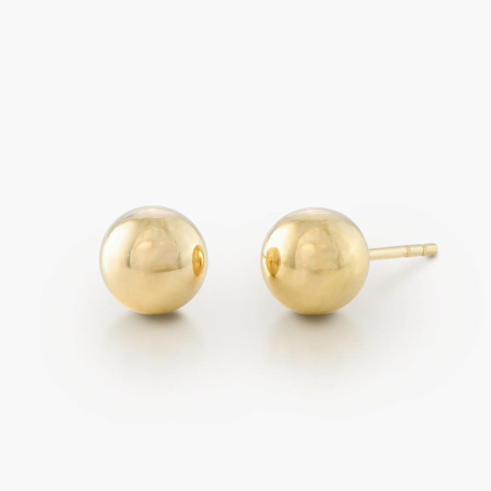 18K & Sterling Silver 8mm Round Ball Stud Earrings