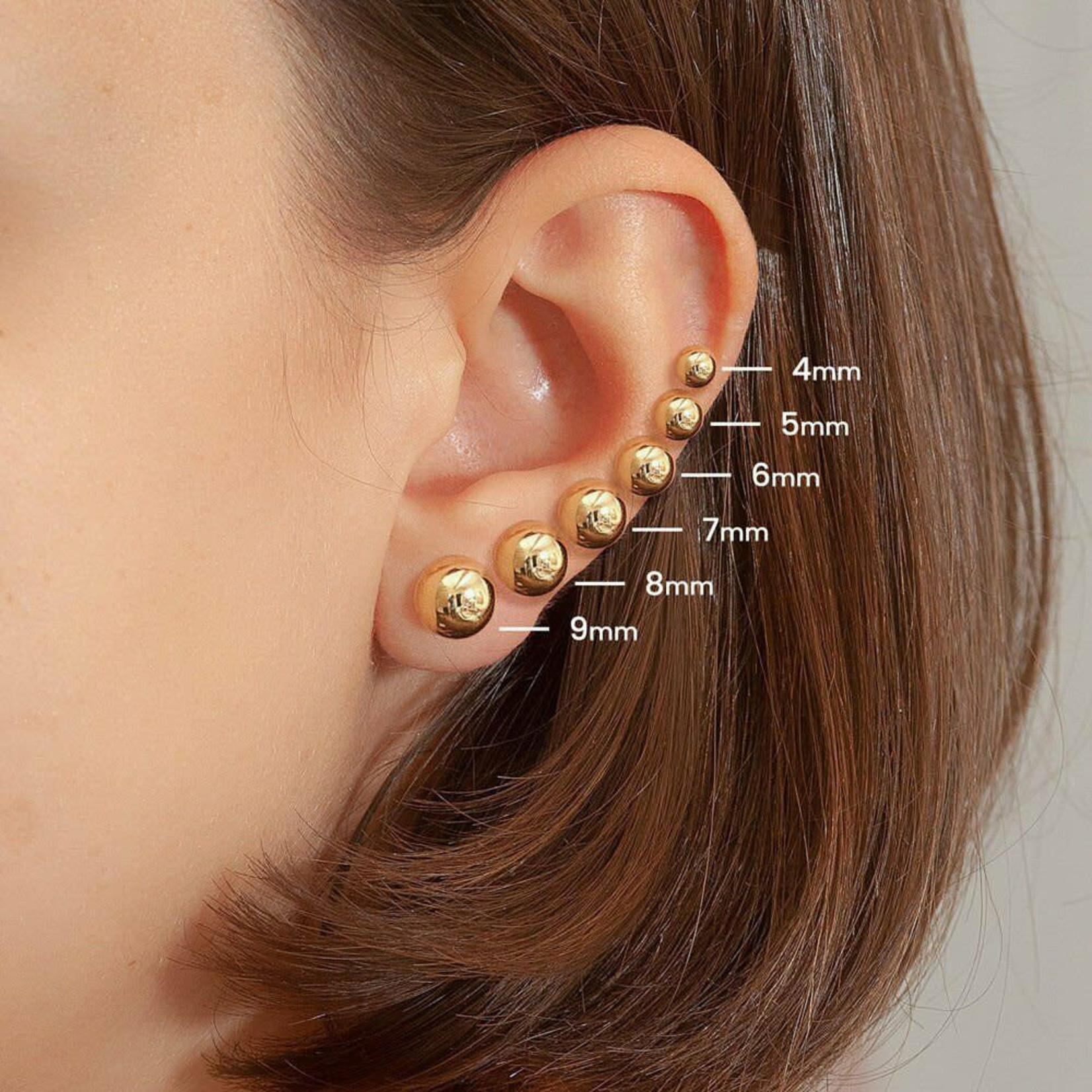 14KY Gold 6mm Round Ball Stud Earrings