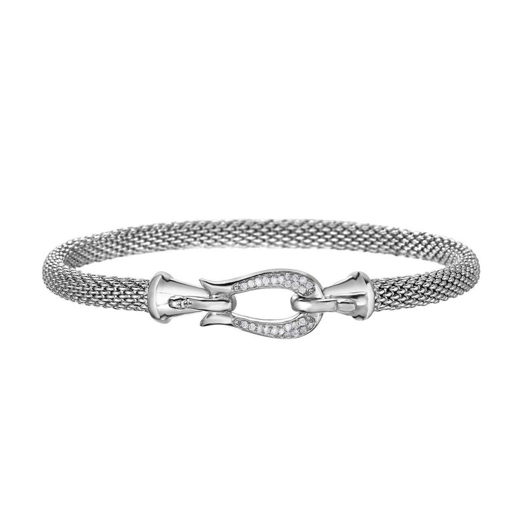 Sterling Silver Diamond 0.15ctw Buckle Popcorn Bracelet