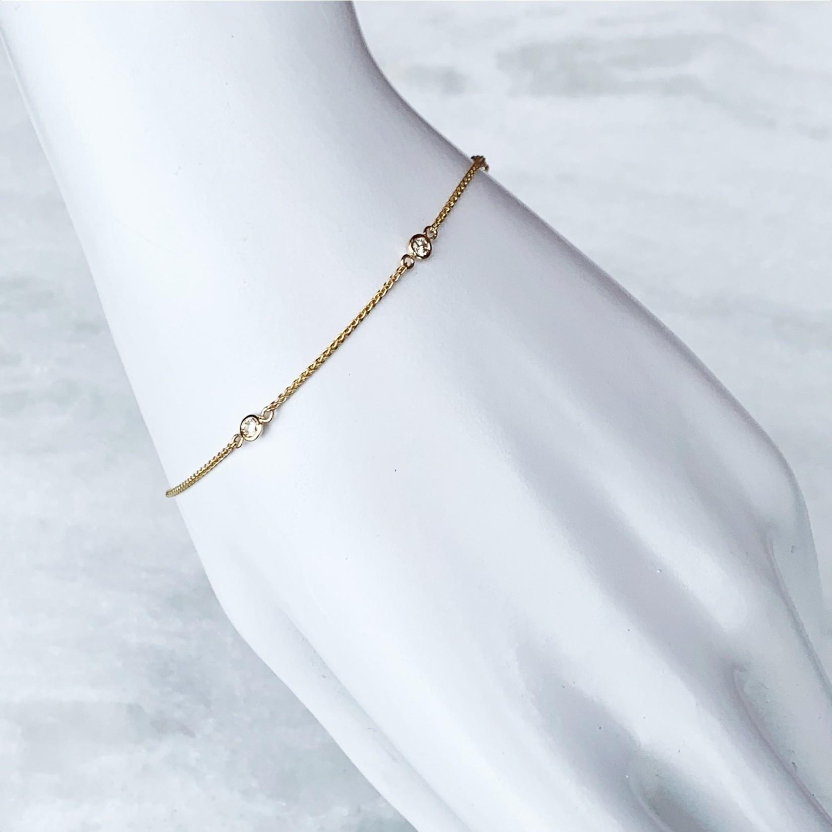 """14K Yellow Gold Diamond 0.10ctw Bezel Bracelet 7"""""""