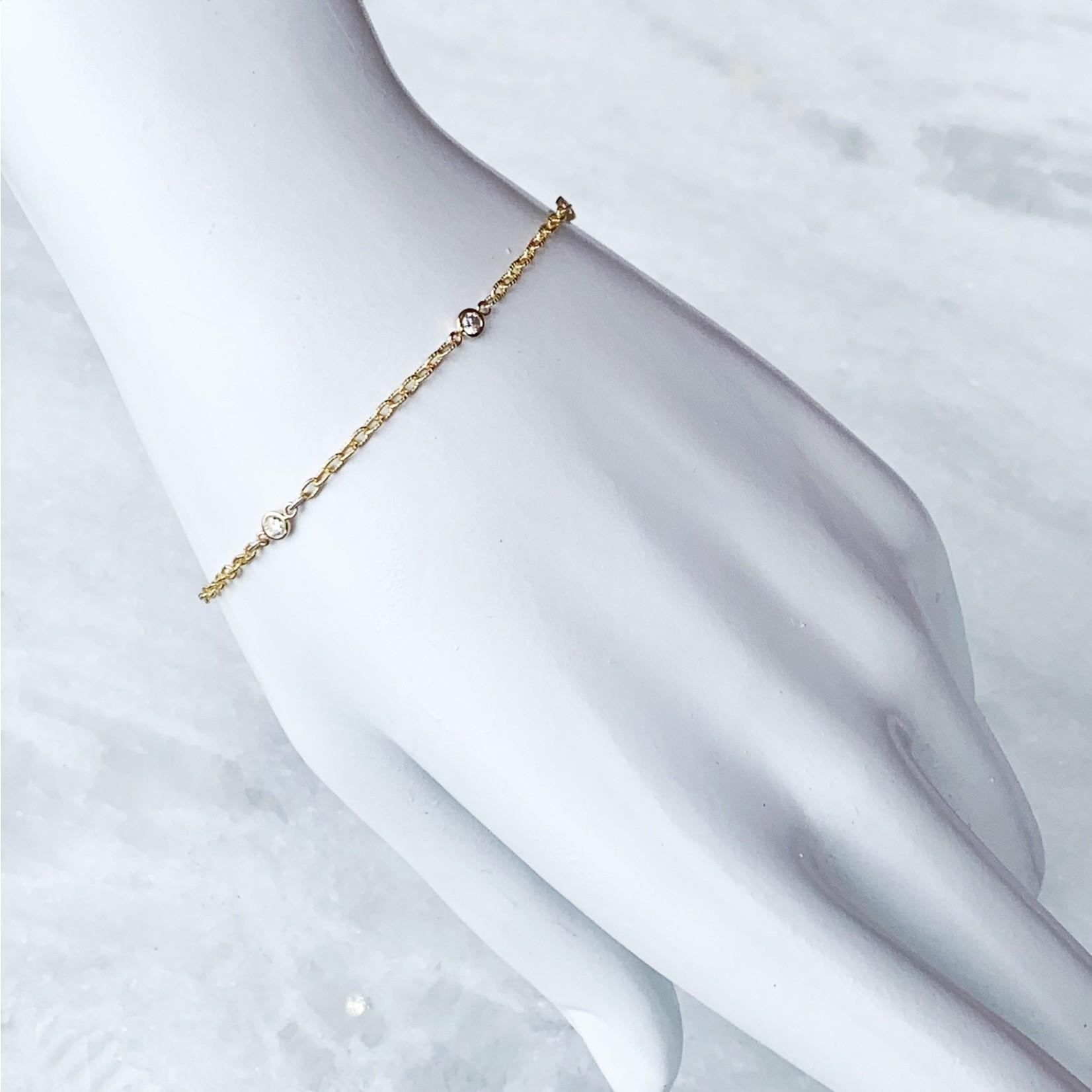 """14K Yellow Gold Fancy Link Diamond 0.15ctw Bezel Bracelet 7"""""""