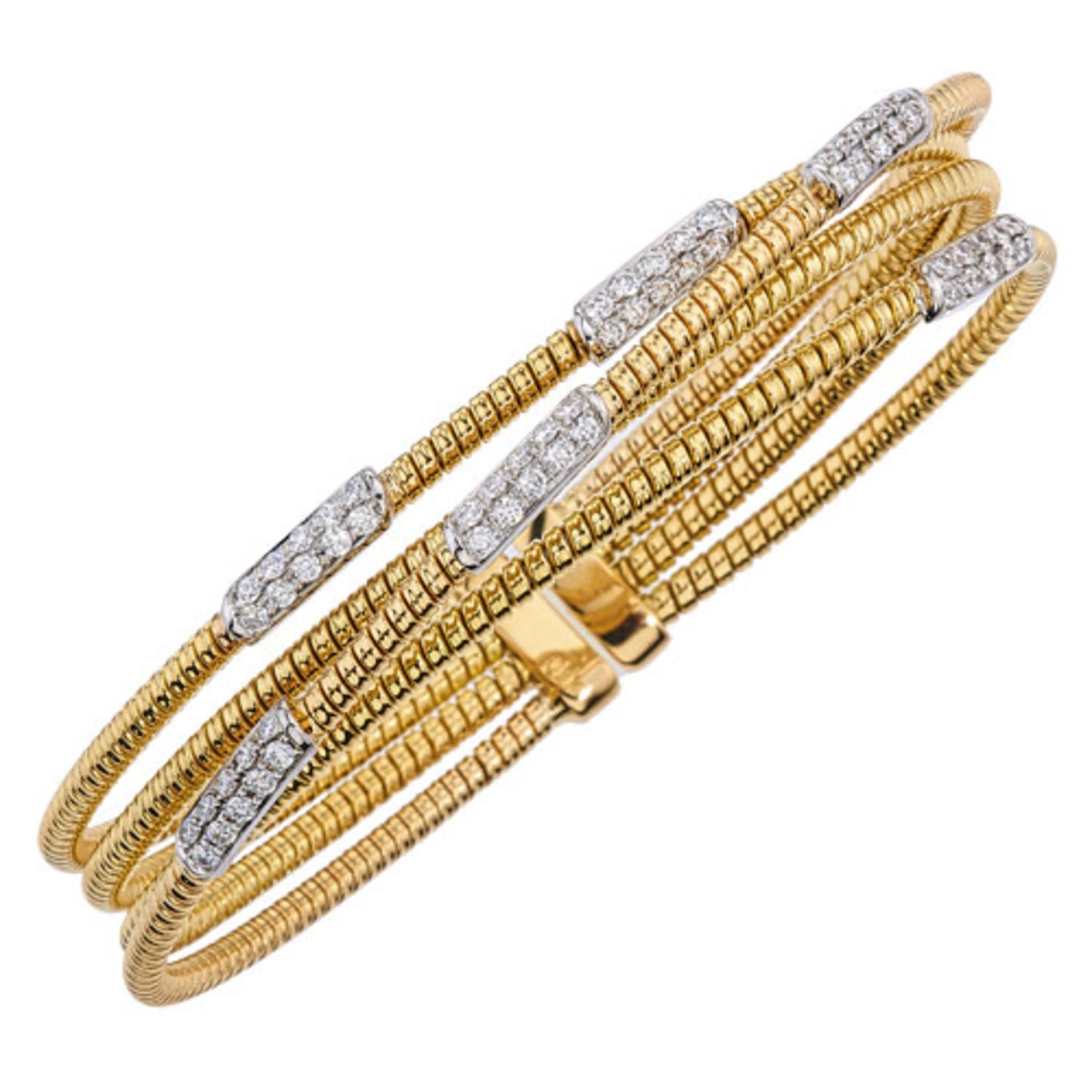 18K Yellow & White Gold  Diamond Pave 0.75ctw Flexible Multi Row Cuff