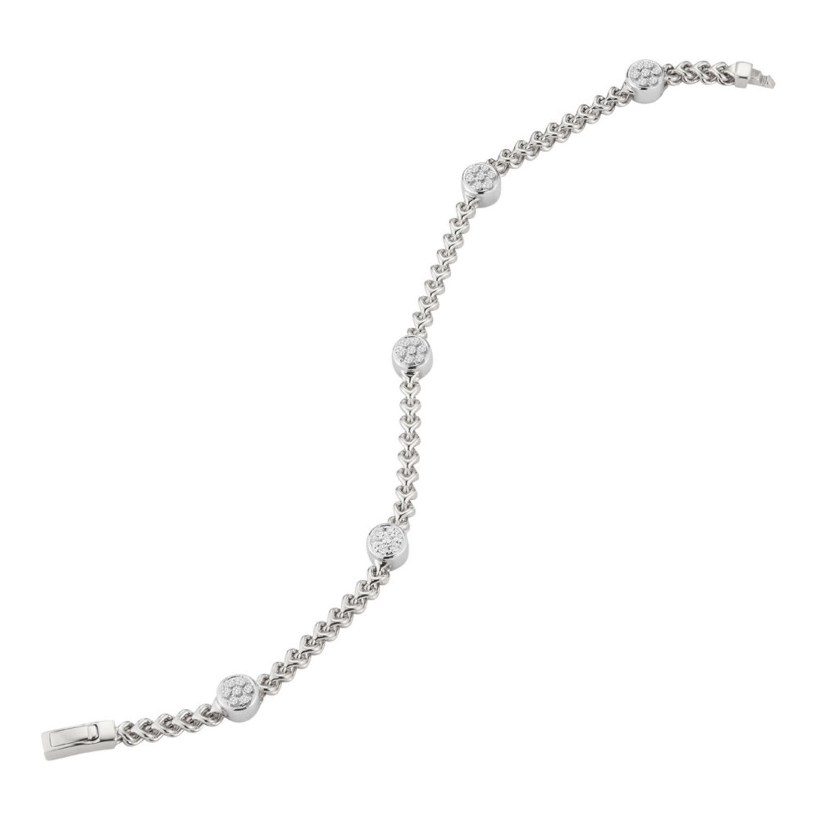 14K White Gold Round Pave Diamond 0.50ctw Cluster Bracelet