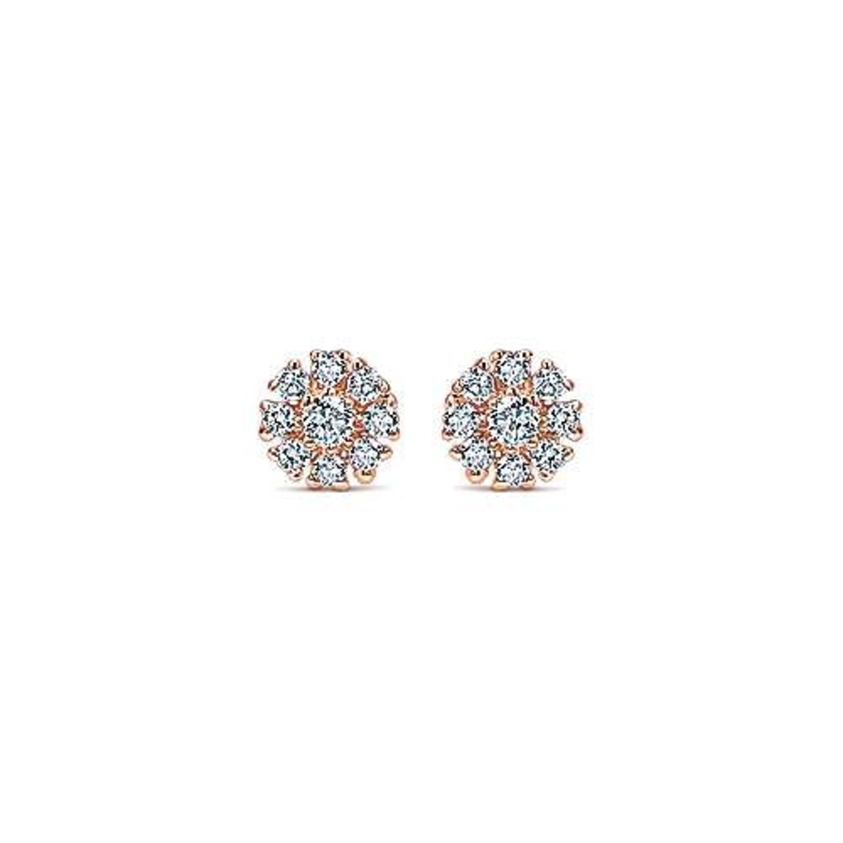 14K Rose Gold Mini Floral Diamond 0.10ctw Studs