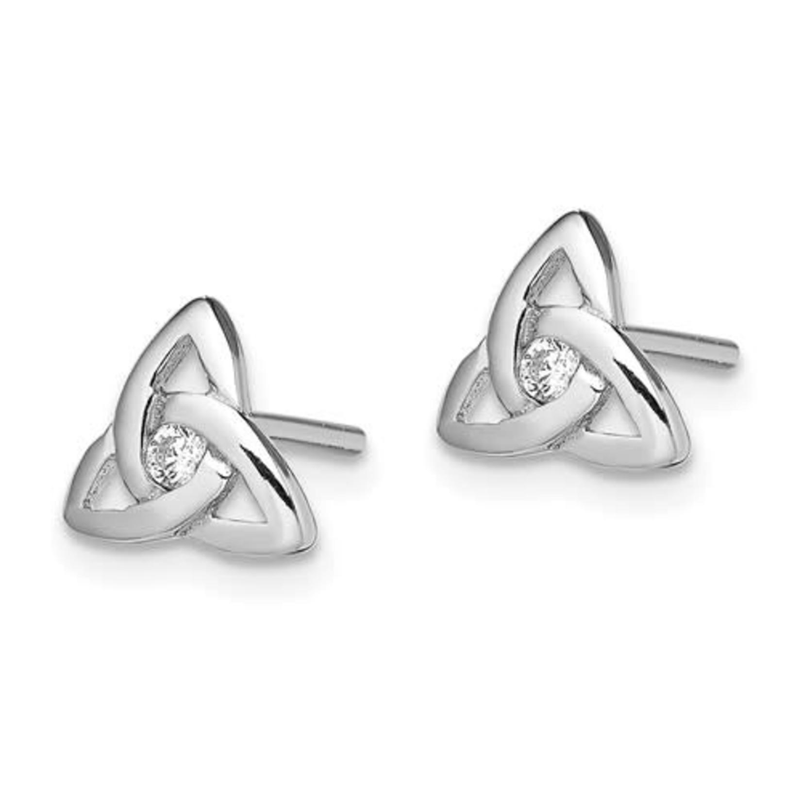 Sterling Silver Celtic Knot Crystal Stud Earrings