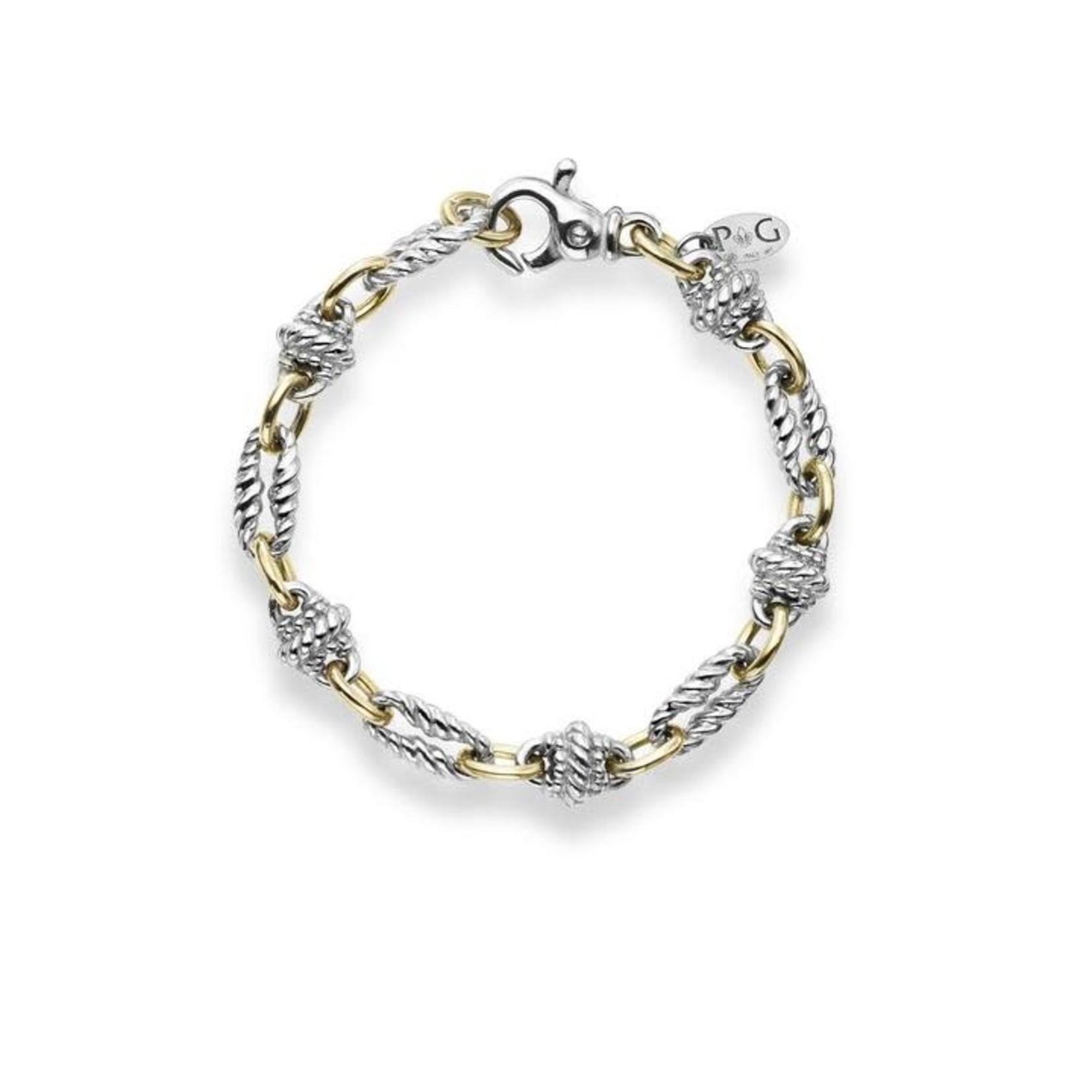 Sterling Silver 18KY Gold Fancy Link Bracelet