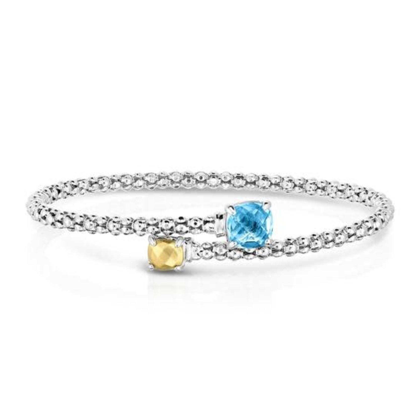 Sterling Silver 18K Gold Blue Topaz Wrap Bracelet