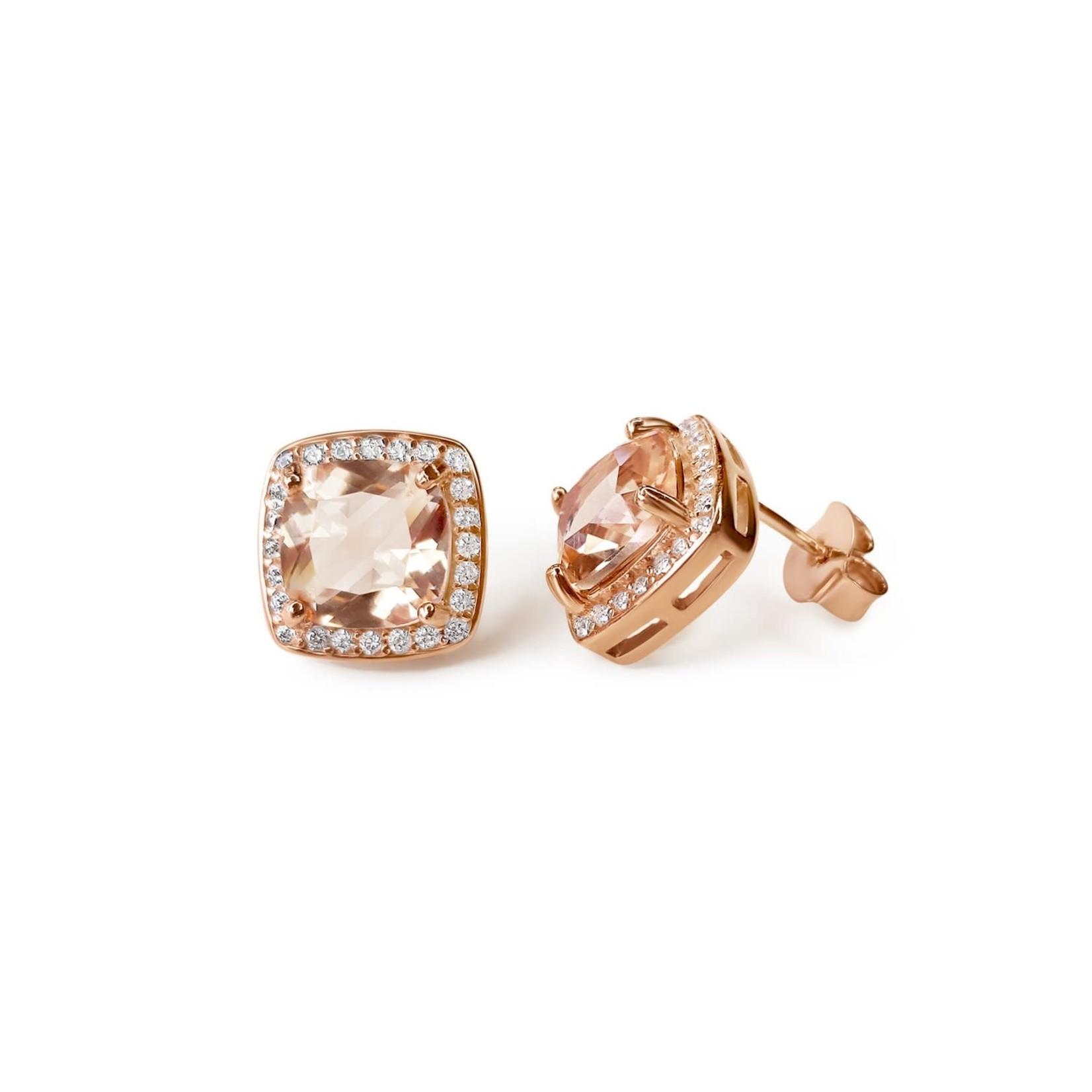 14K Rose Gold Morganite 2.69ctw Diamond 0.30ctw Halo Stud Earrings