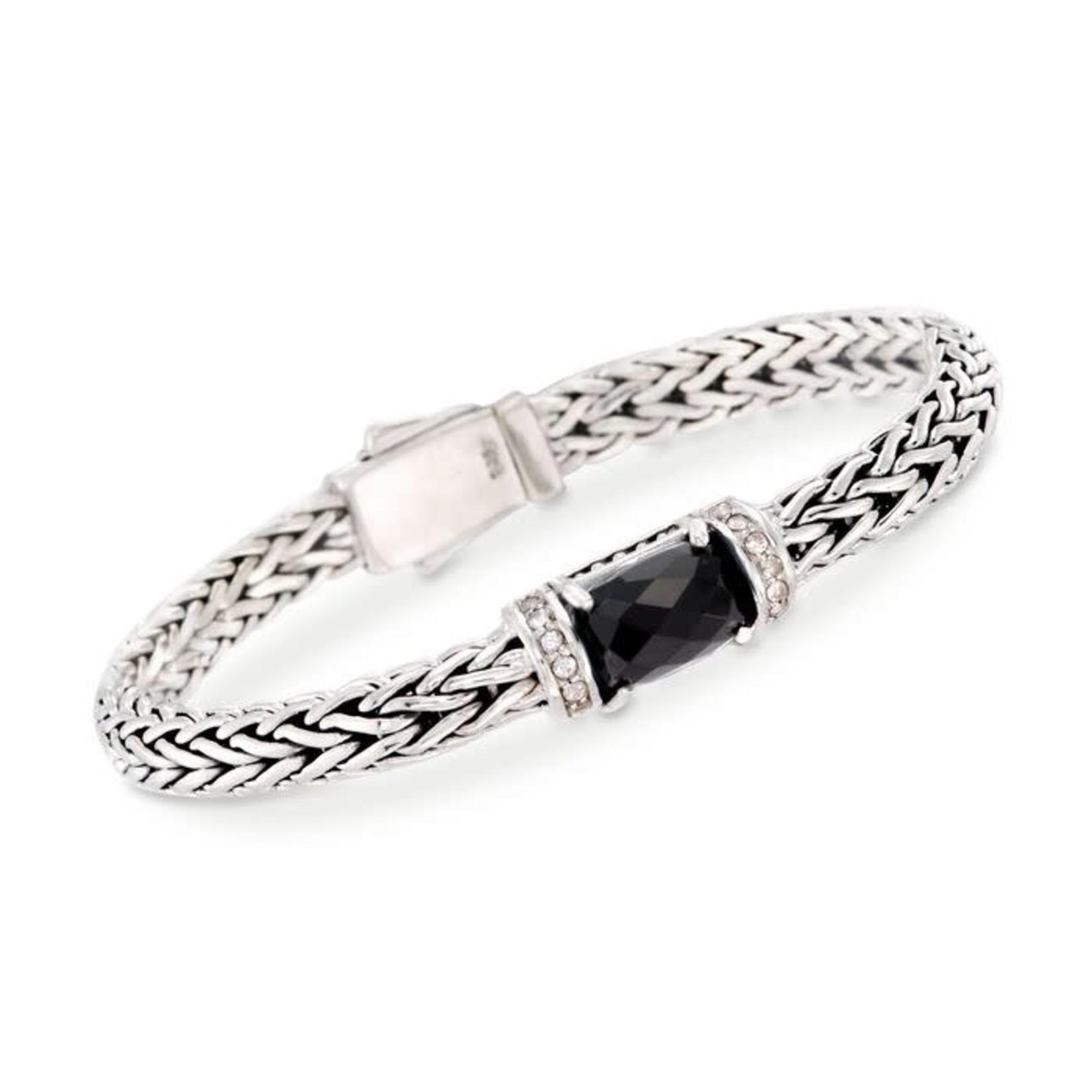 Sterling Silver Onyx & White Topaz Weave Bracelet