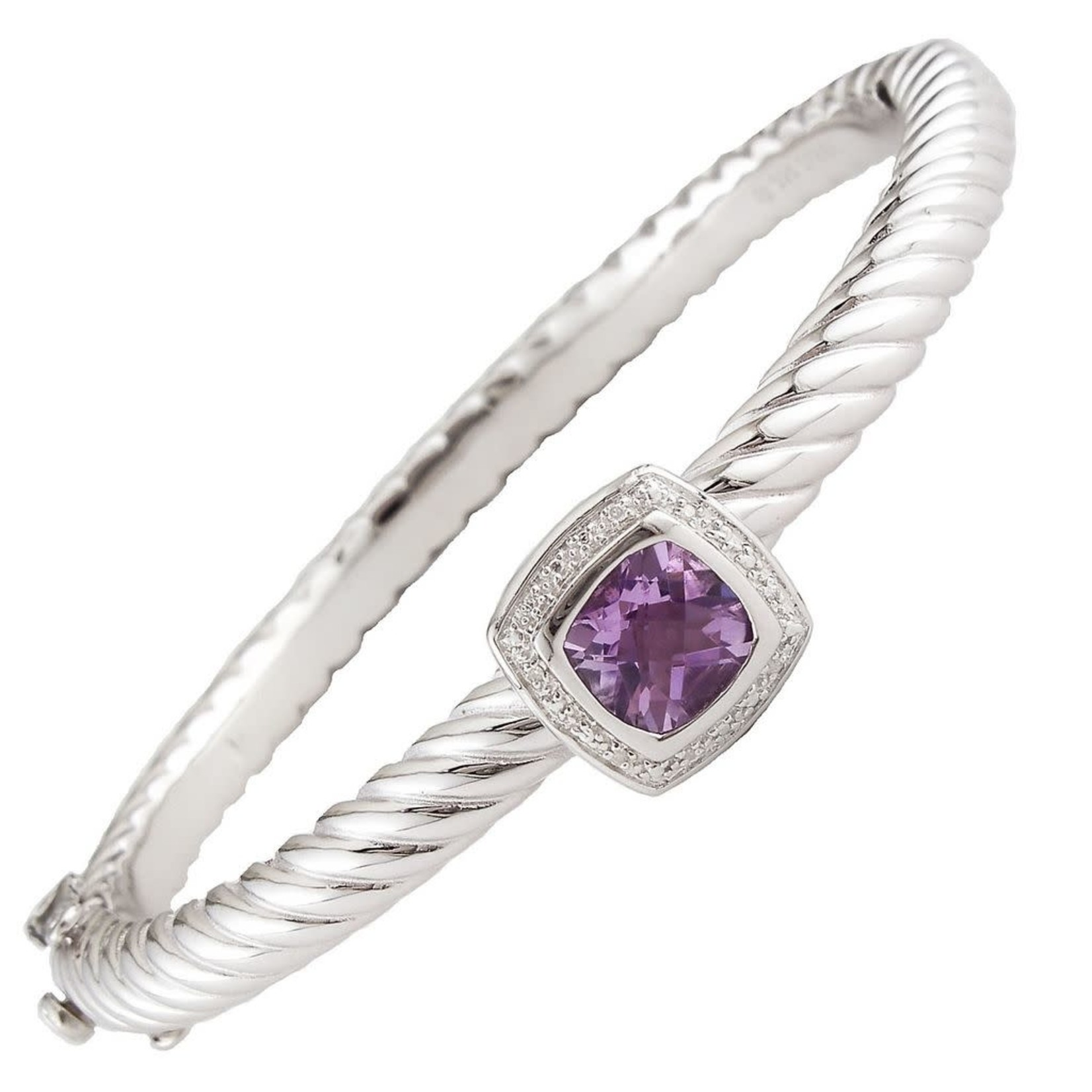 Sterling Steel Cushion Amethyst & Diamond 0.02ctw Cable Bangle