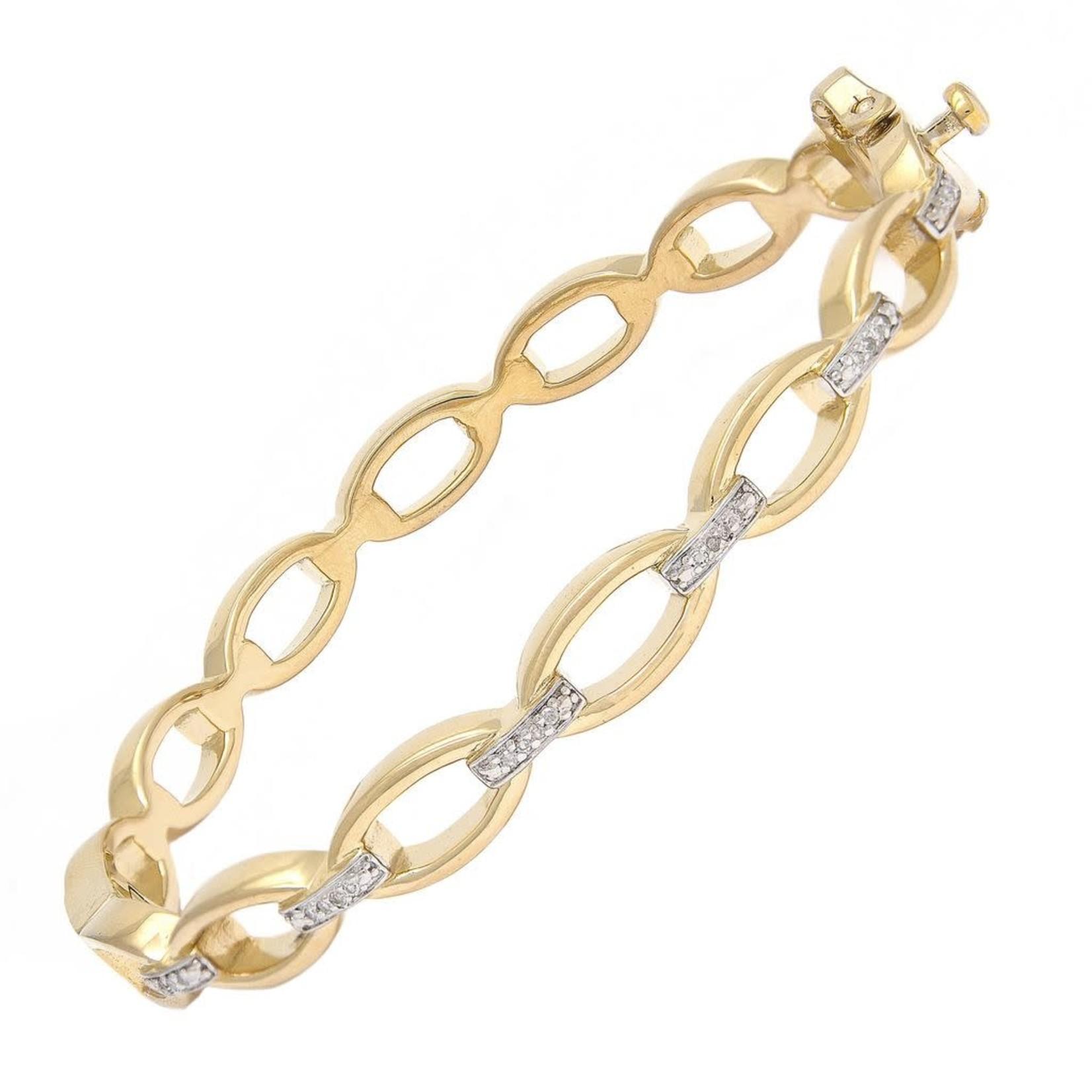 14K Yellow Gold Sterling Diamond 0.09ctw Link Bangle