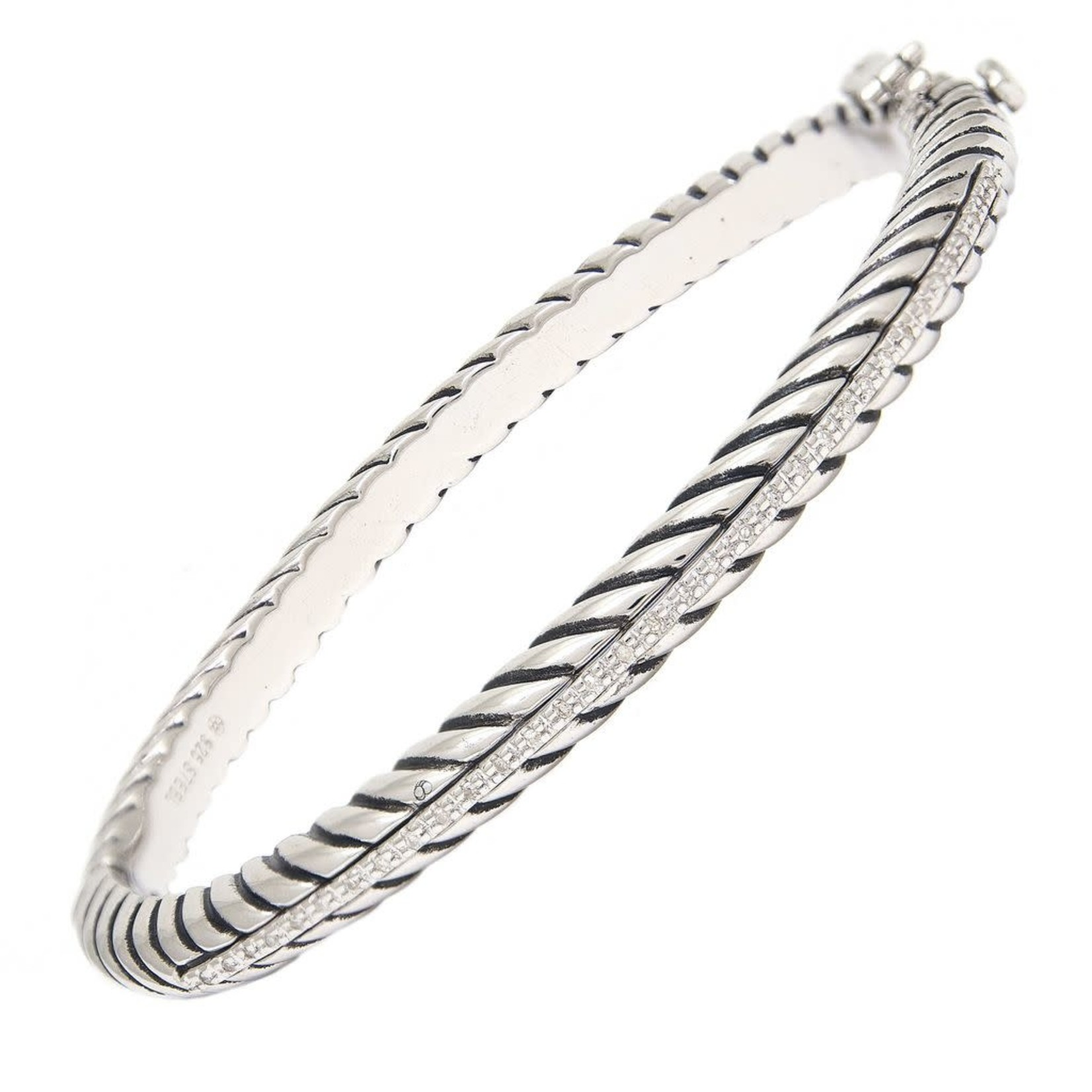 Sterling Steel Oxidized Diamond  0.10ctw Cable Bangle
