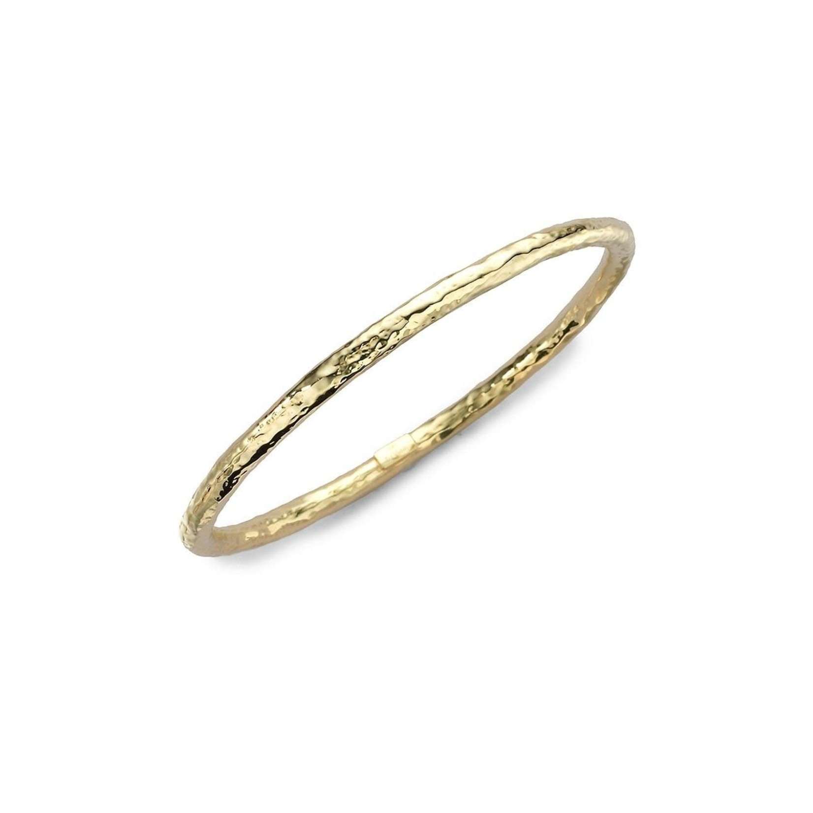18K Yellow Gold Medium Hammered Oval Bangle by IPPOLITA