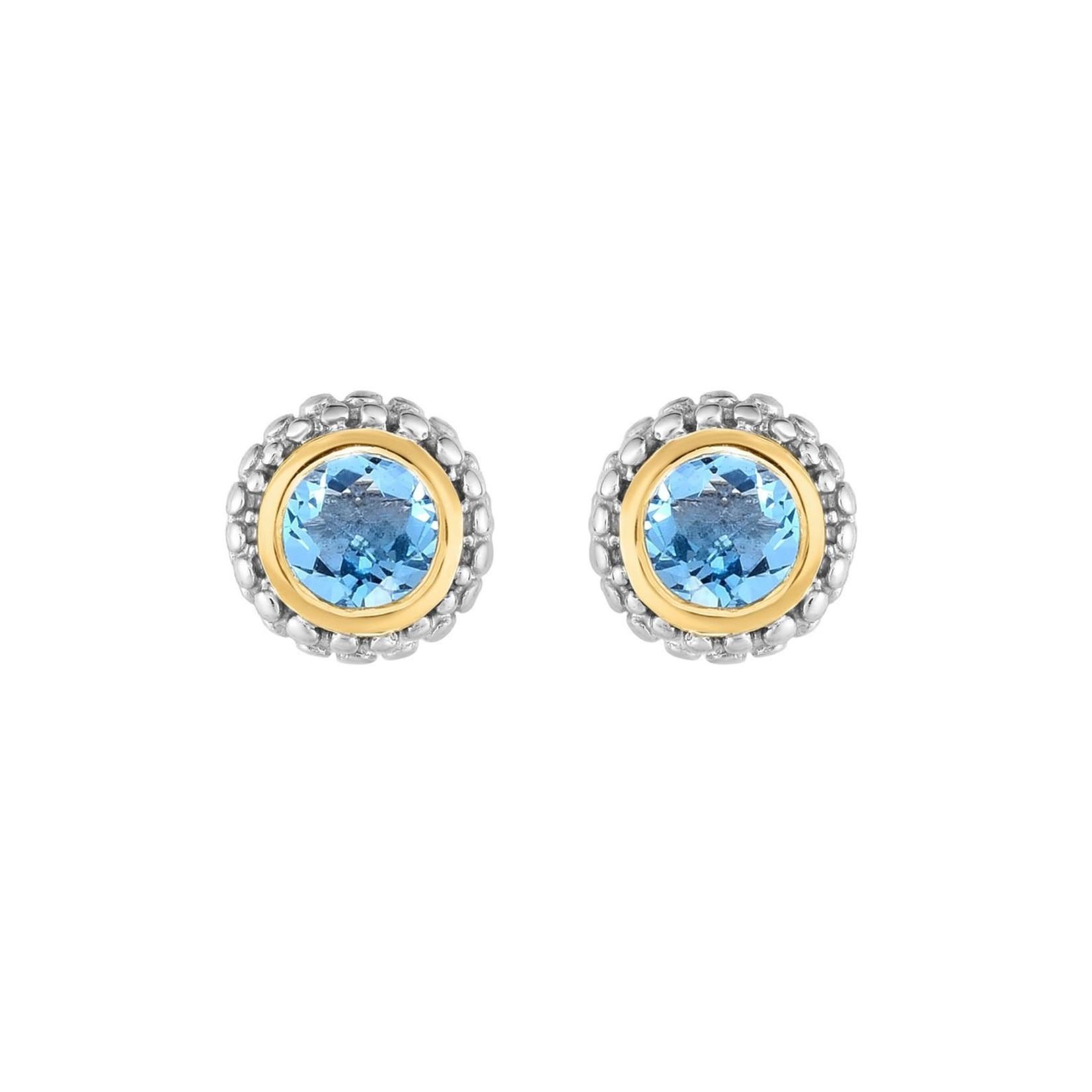 Sterling Silver & 18K Gold Blue Topaz Stud Earrings