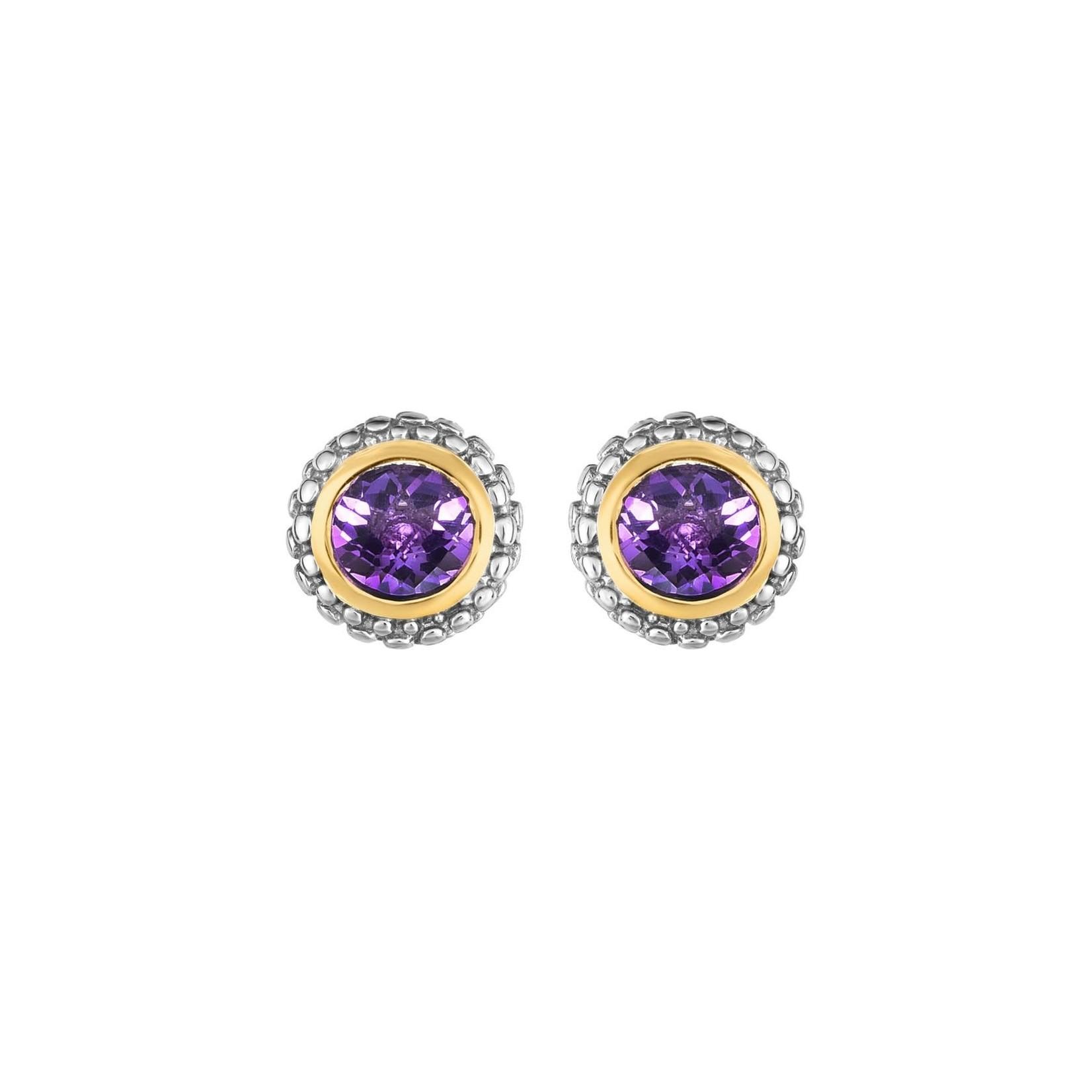 Sterling Silver 18K Gold Amethyst Stud Earrings